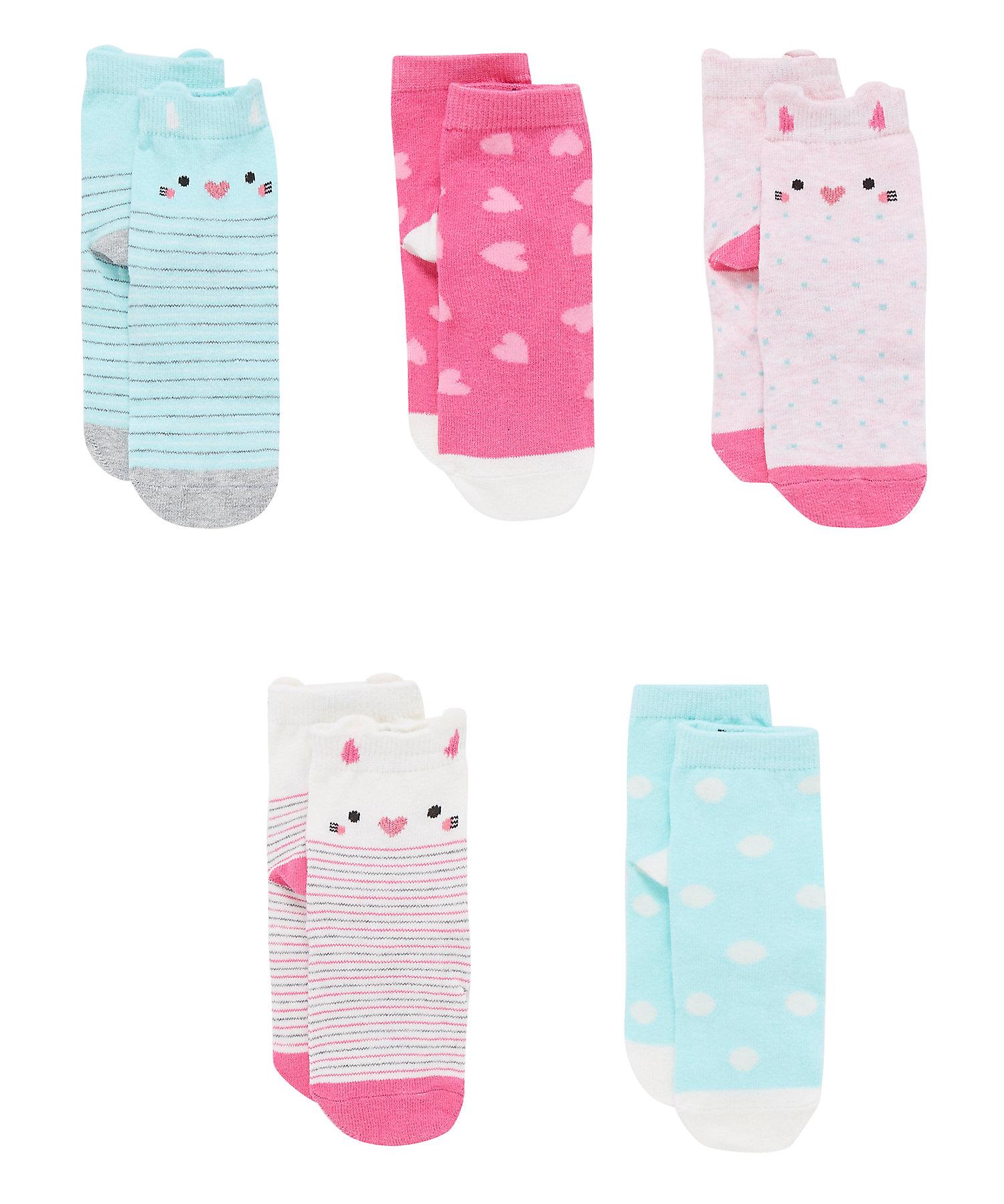 Mothercare | Girls Socks Cat Design - Pack Of 5 - Multicolor