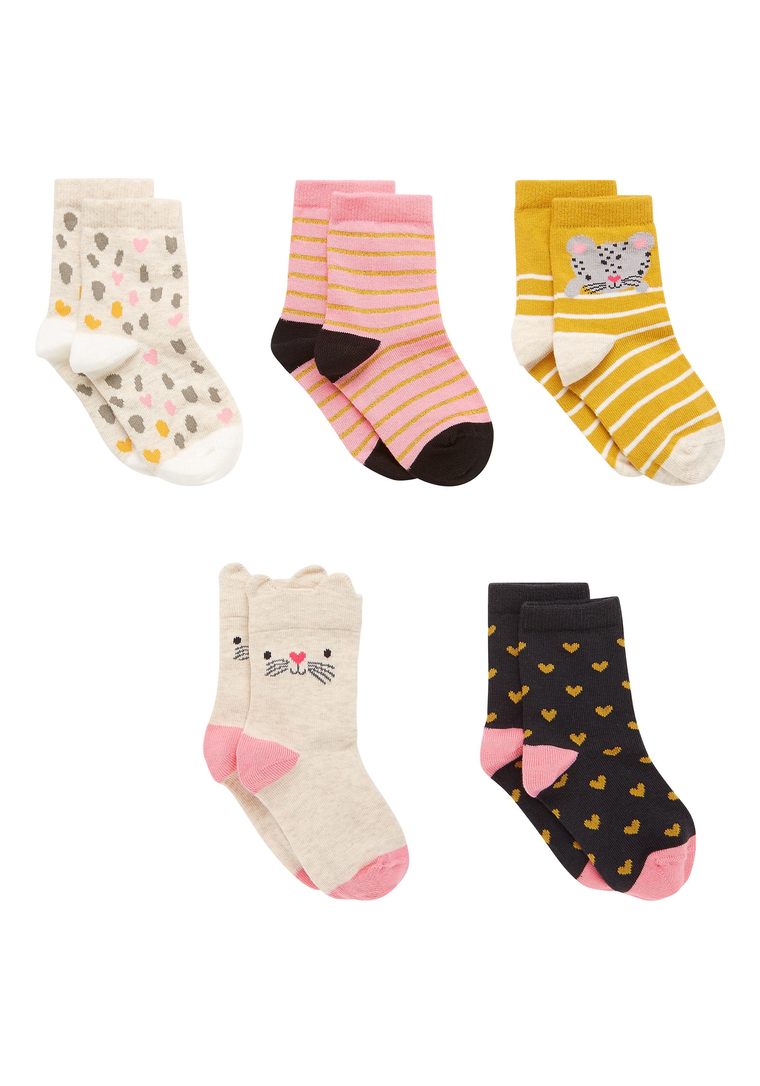 Mothercare   Girls Animal Socks - Pack Of 5