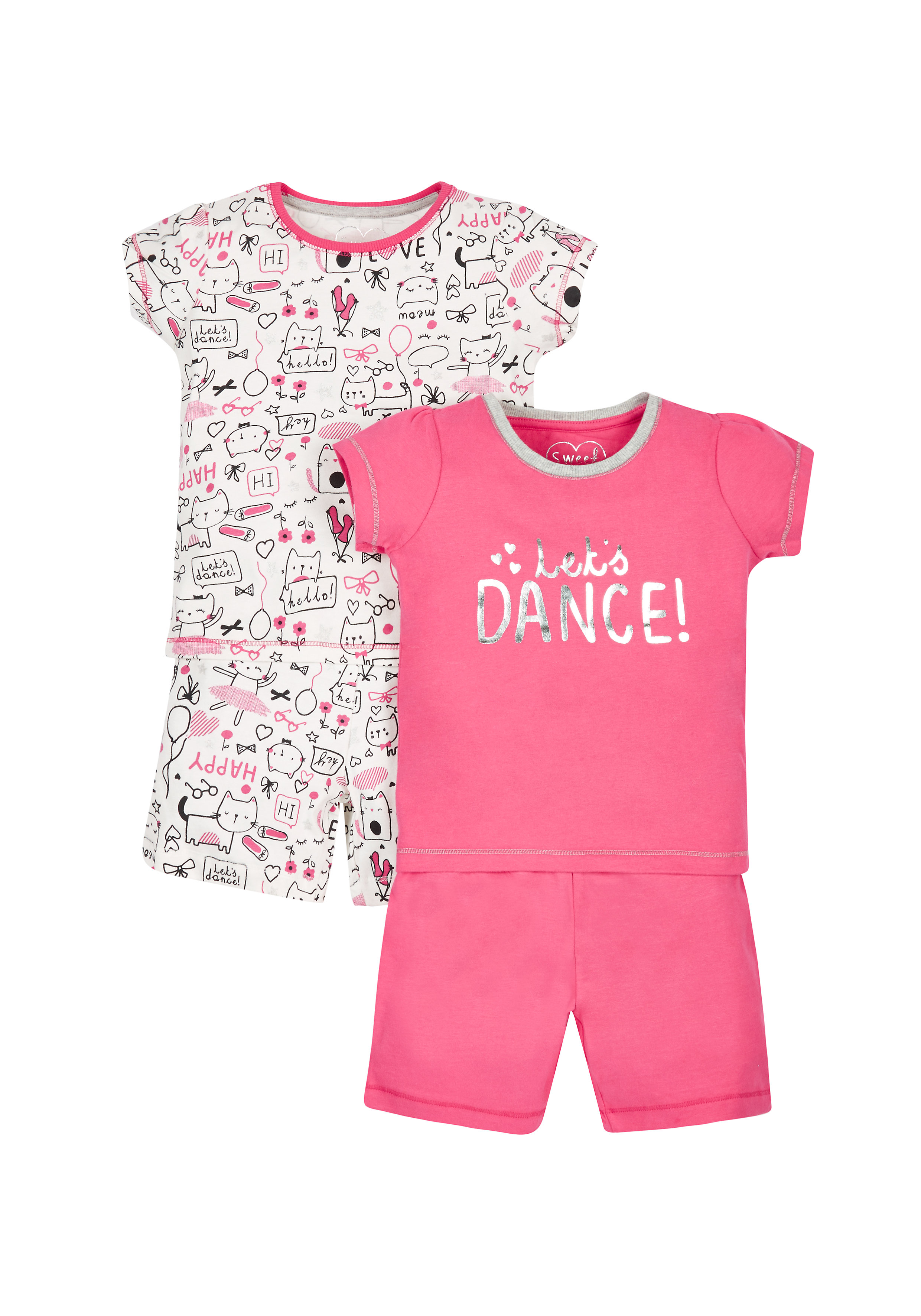 Mothercare   Girls Let'S Dance Shortie Pyjamas - Pack Of 2