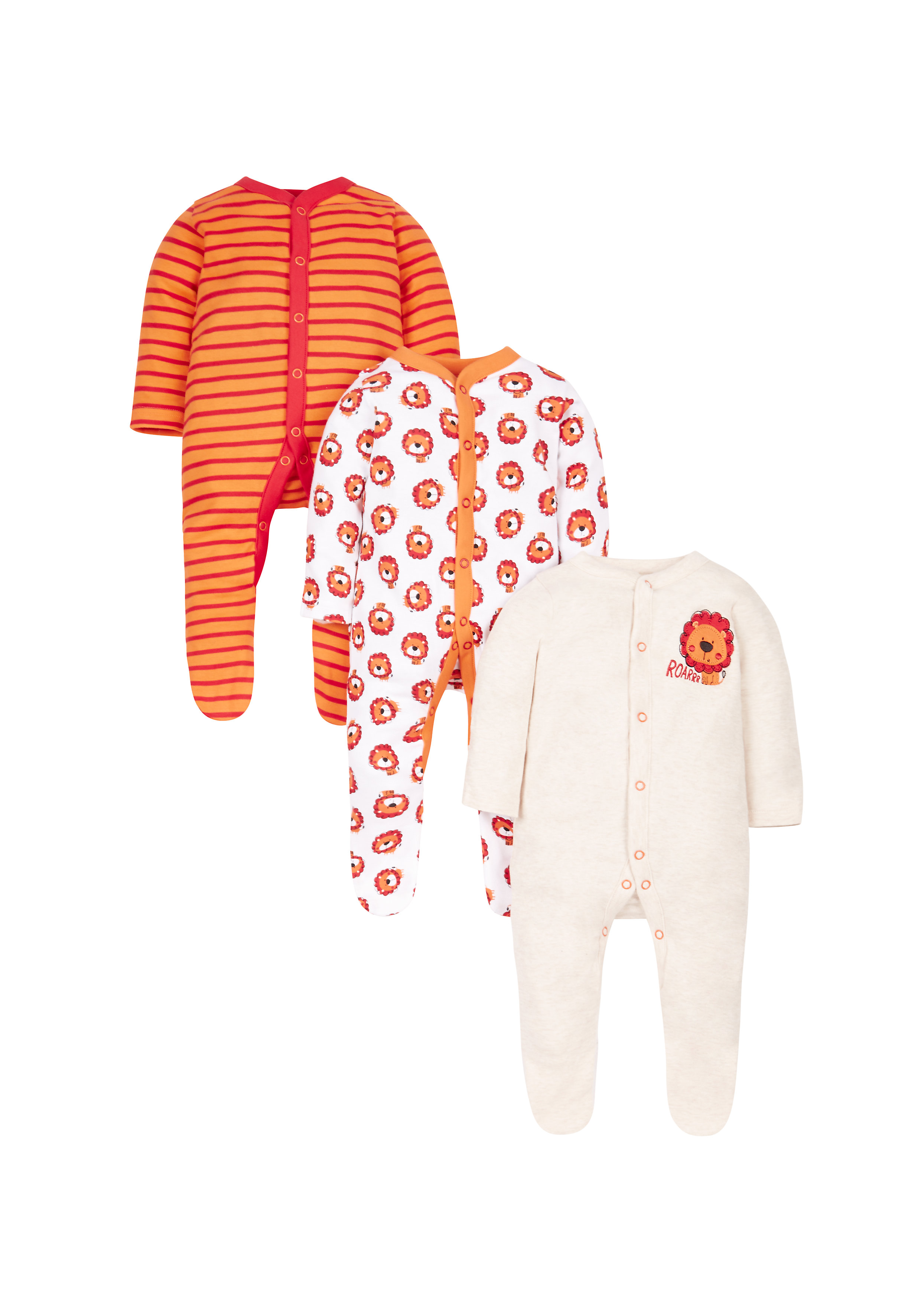 Mothercare | Boys Little Lion Sleepsuits - Pack Of 3 - Orange