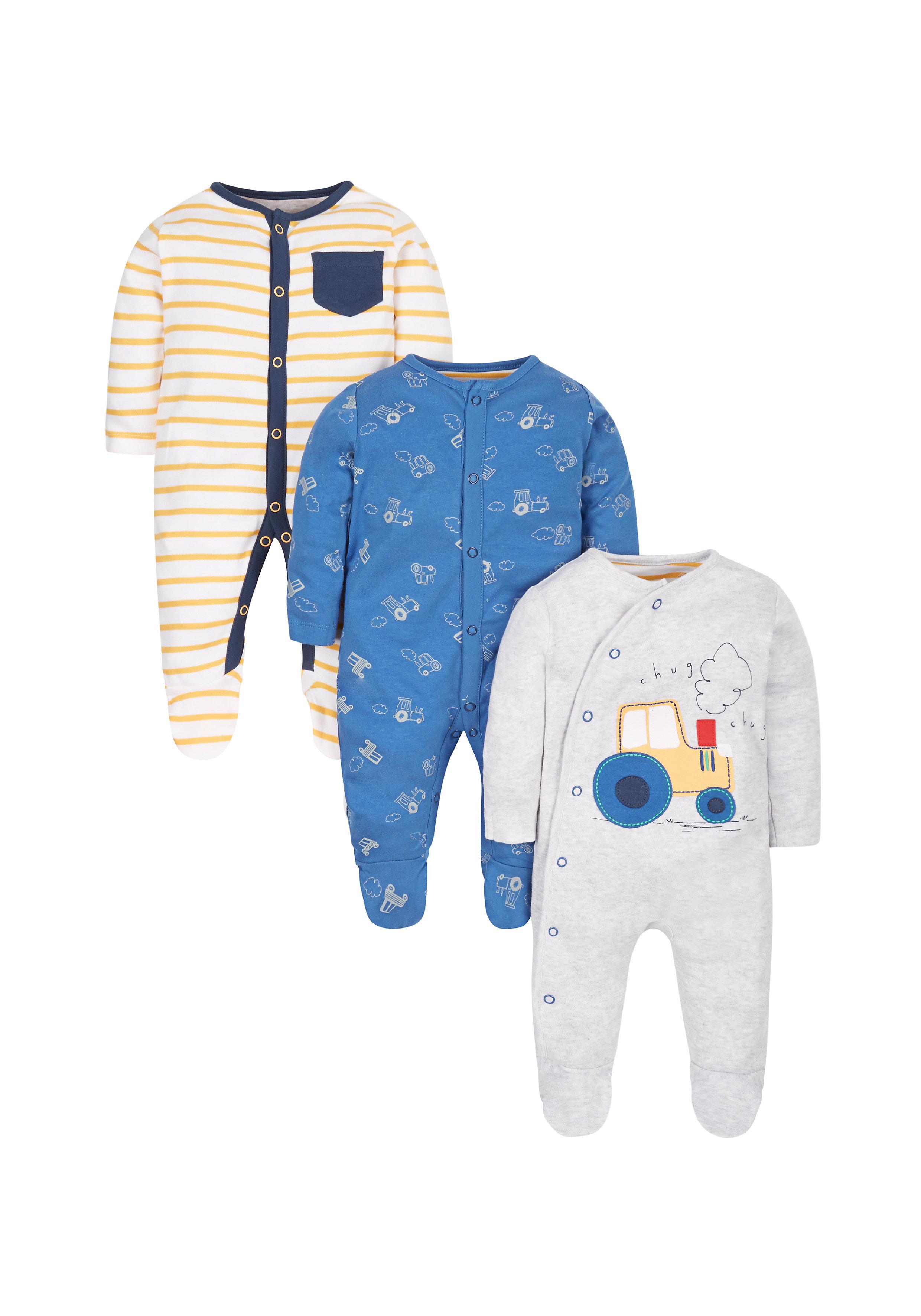 Mothercare | Boys Little Farmer Sleepsuits - Pack Of 3 - Blue Grey