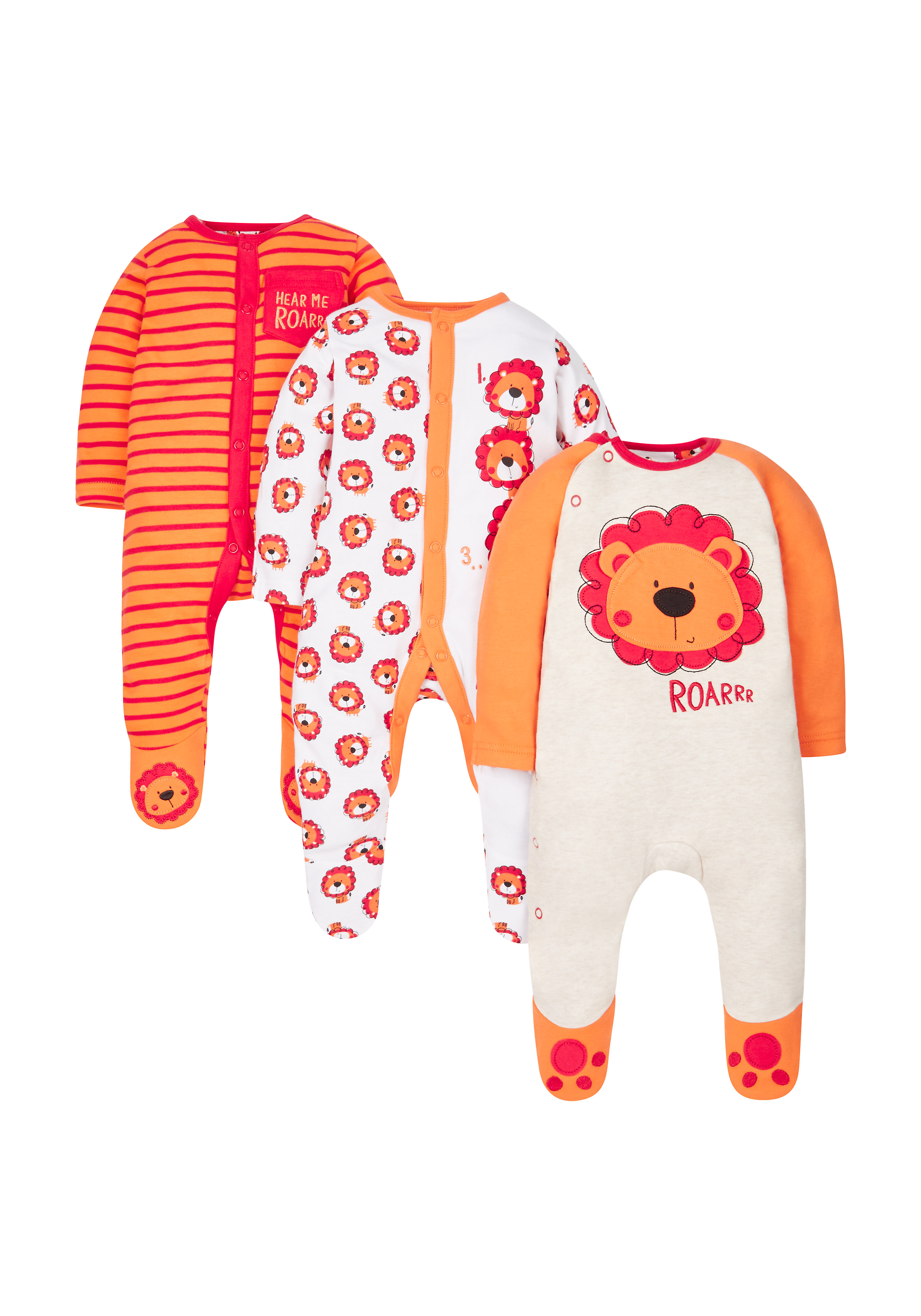 Mothercare | Boys Little Lion Sleepsuits - Pack Of 3