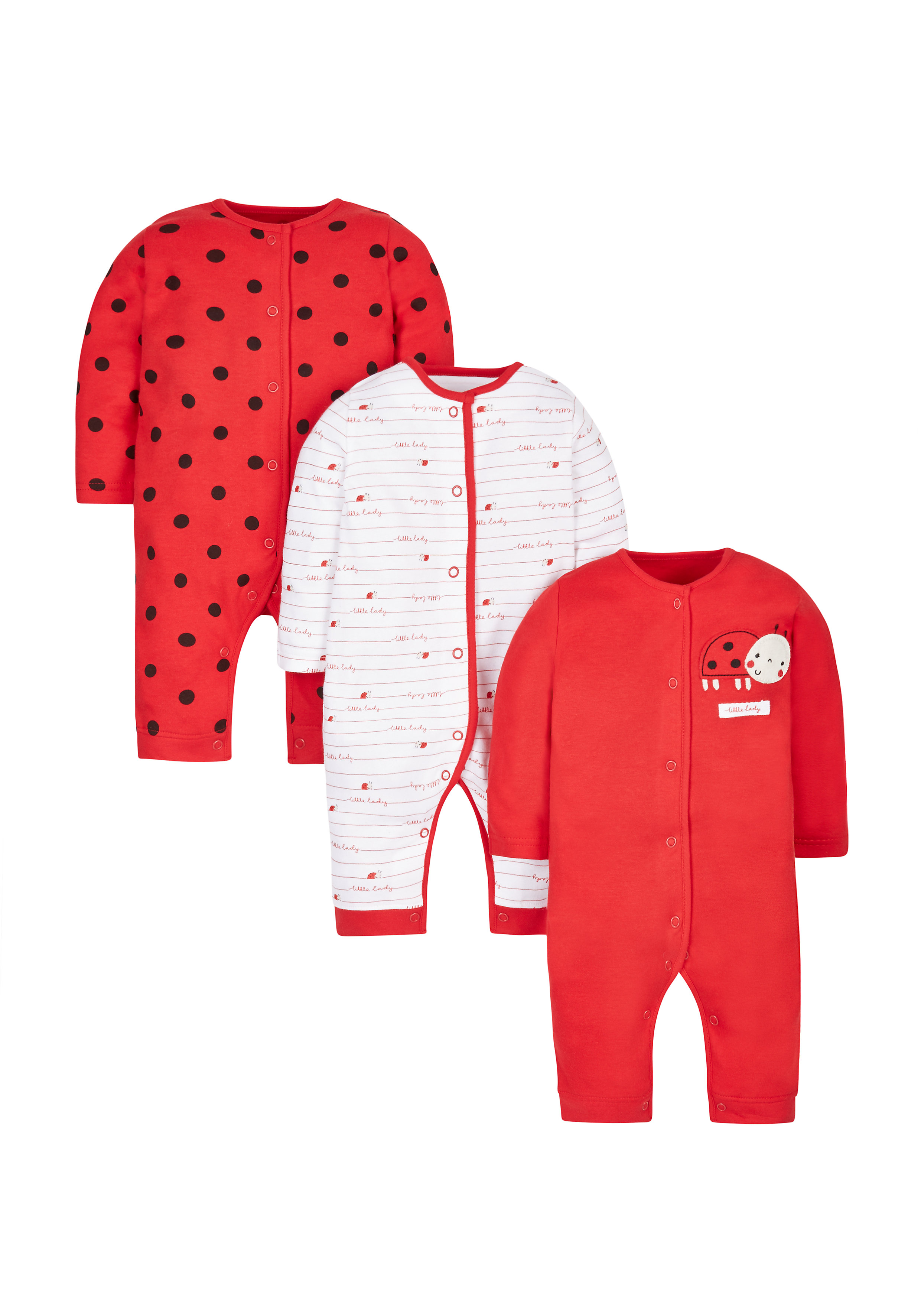 Mothercare | Girls Little Ladybird Footless Sleepsuits - Pack Of 3