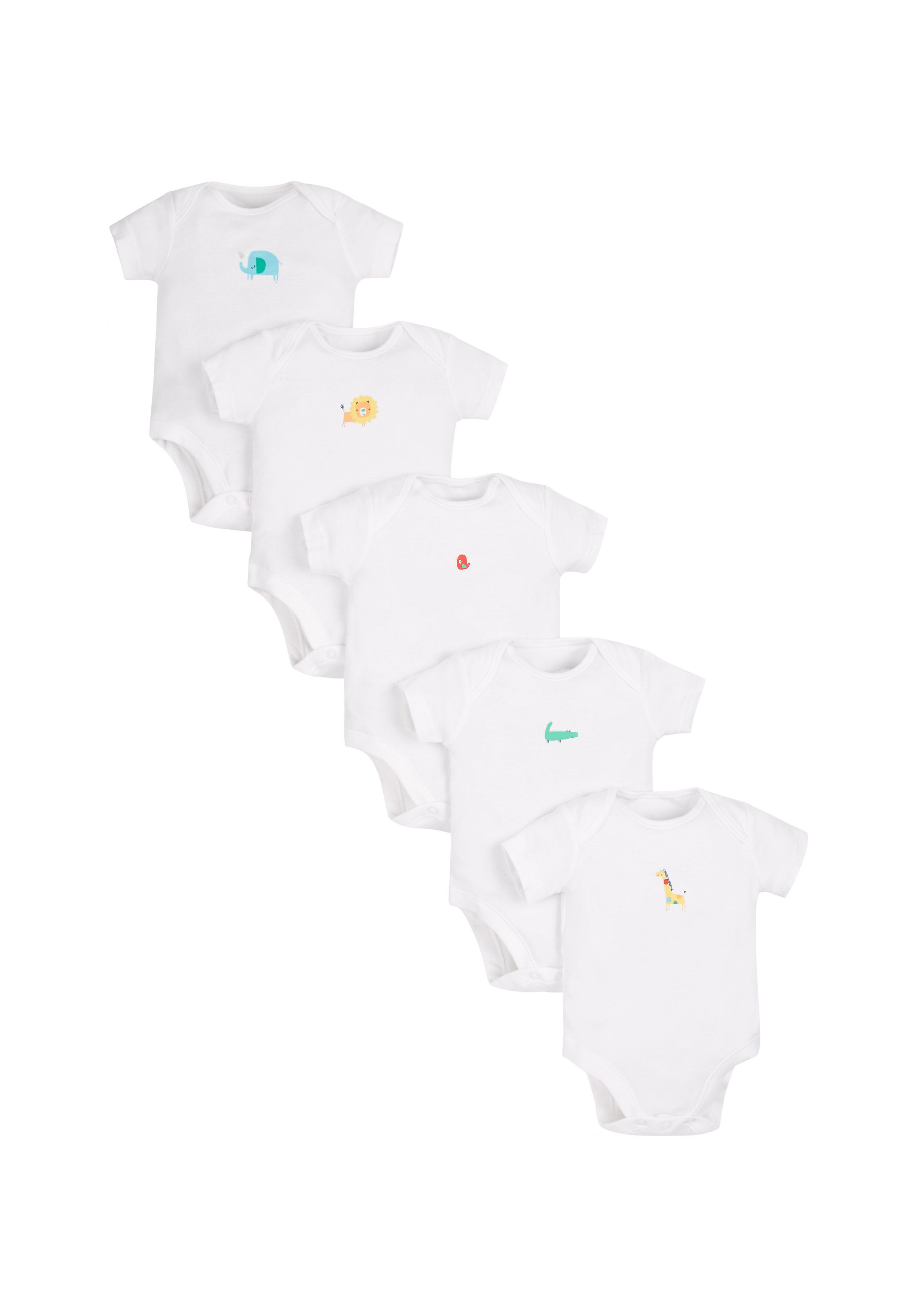 Mothercare | Unisex Jungle Bodysuits - Pack Of 5 - White