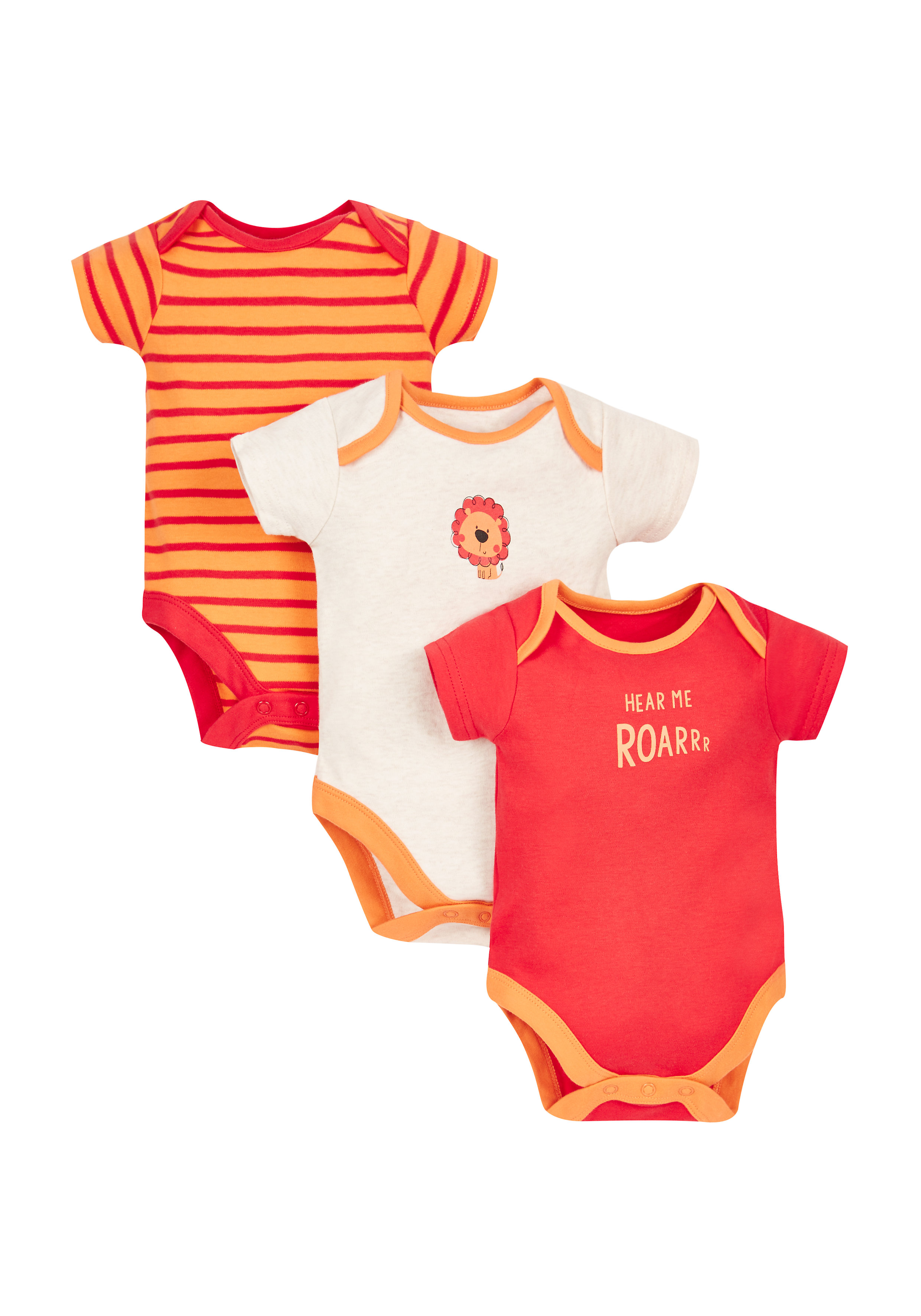 Mothercare | Boys Little Lion Bodysuits - Pack Of 3 - Orange