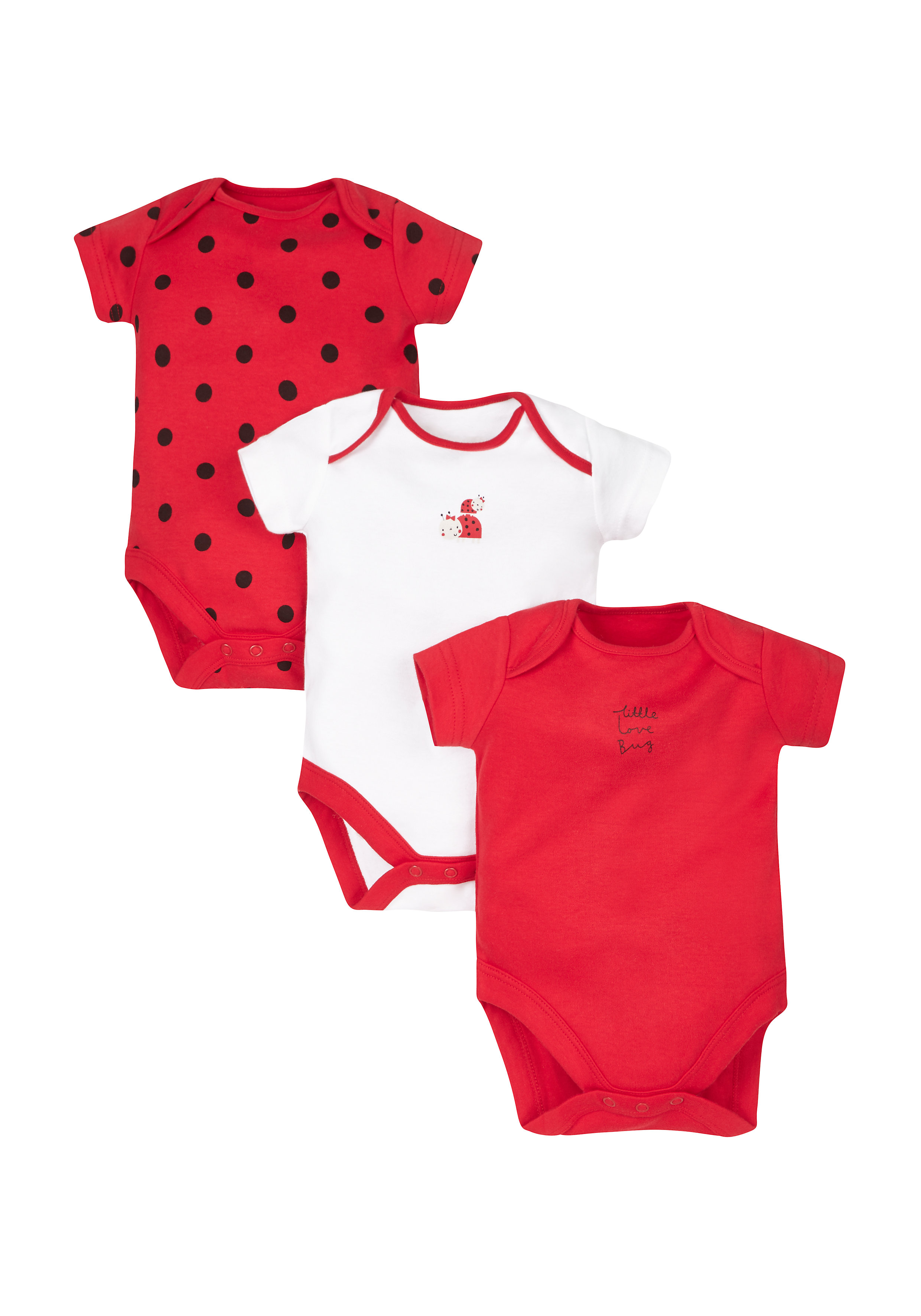 Mothercare | Girls Ladybird Bodysuits - Pack Of 3 - Red