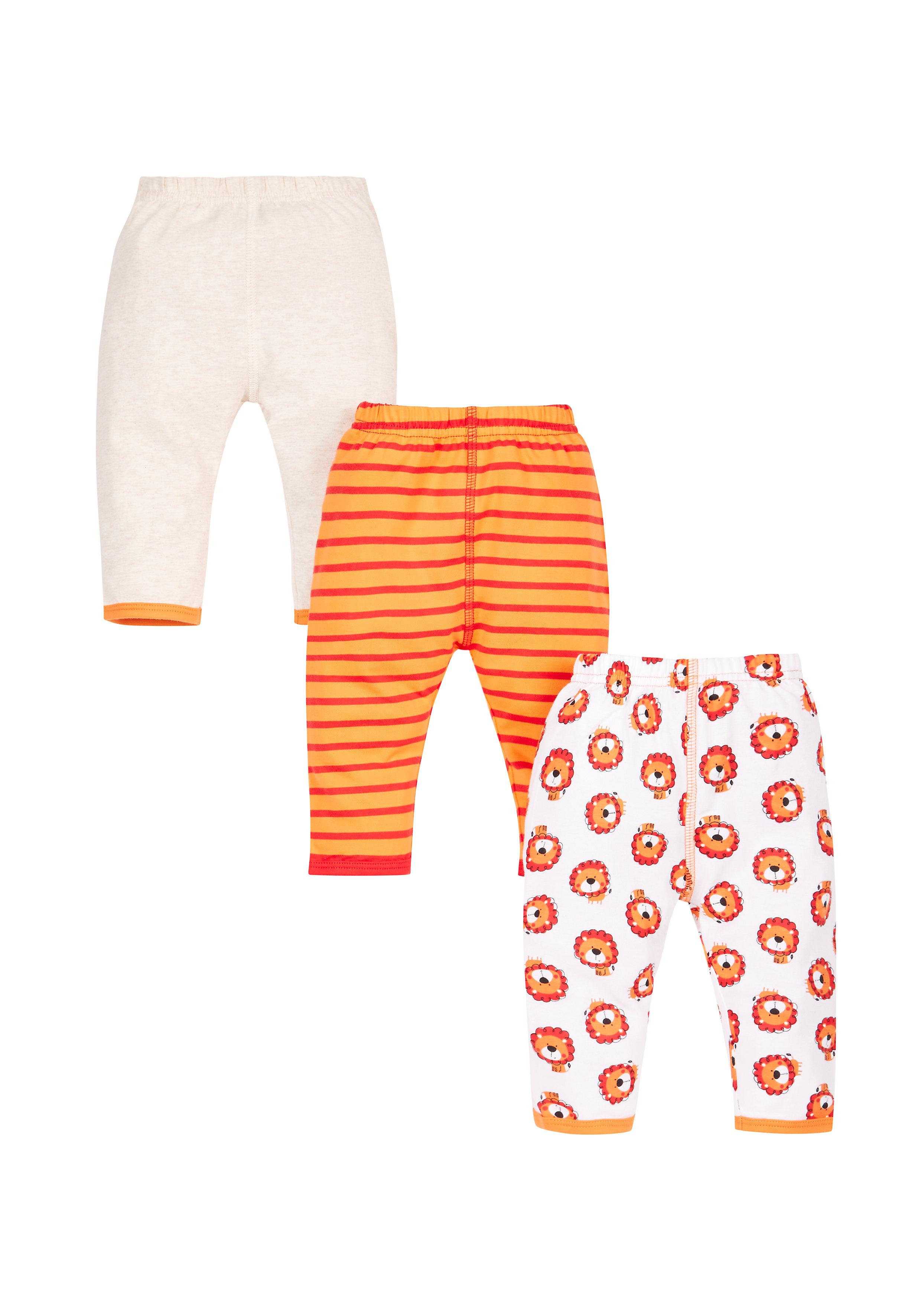 Mothercare   Boys Little Lion Leggings - 3 Pack - Orange