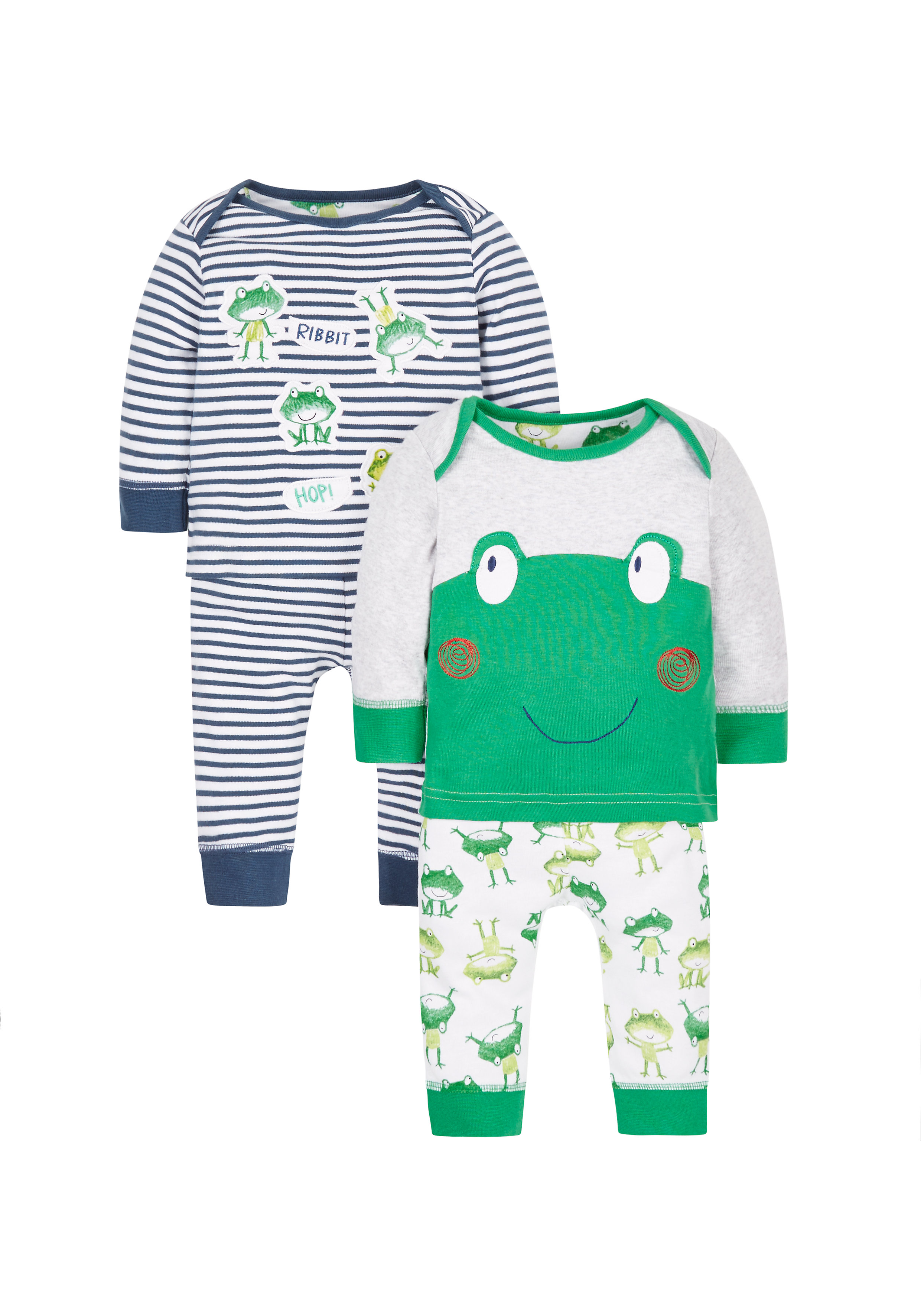 Mothercare | Boys Full Sleeves Frog Print Pyjamas - Pack Of 2 - Green Blue