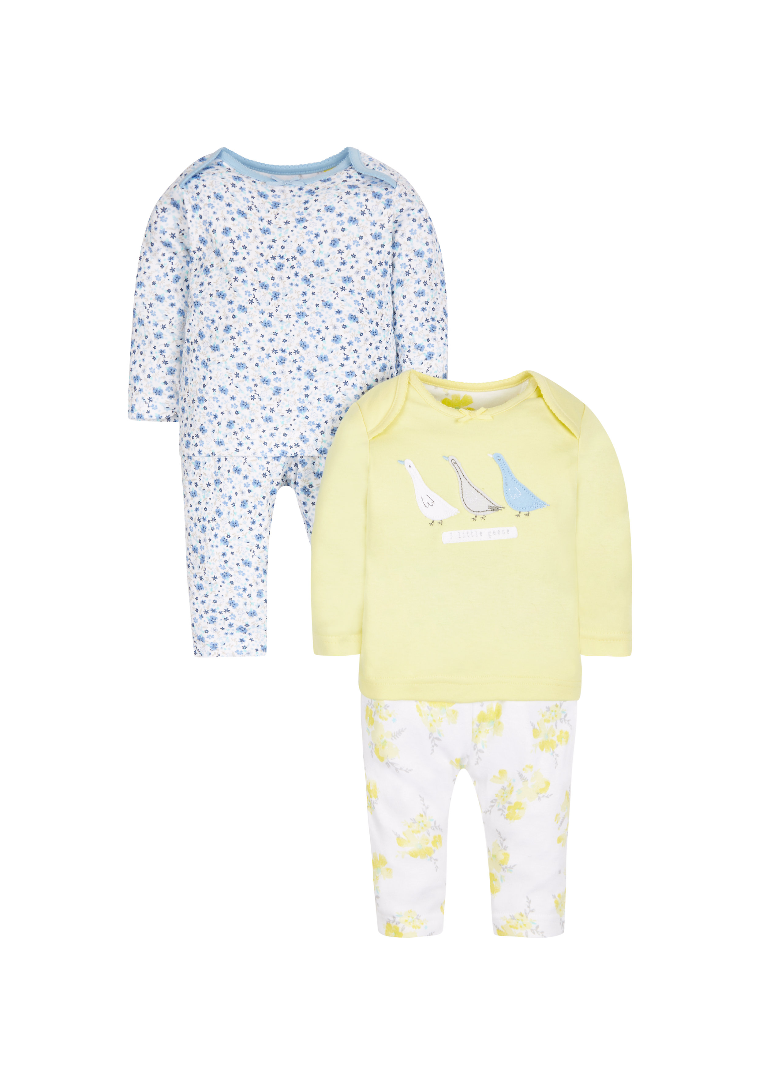 Mothercare   Girls Full Sleeves Floral Print Pyjamas - Pack Of 2 - Yellow Blue