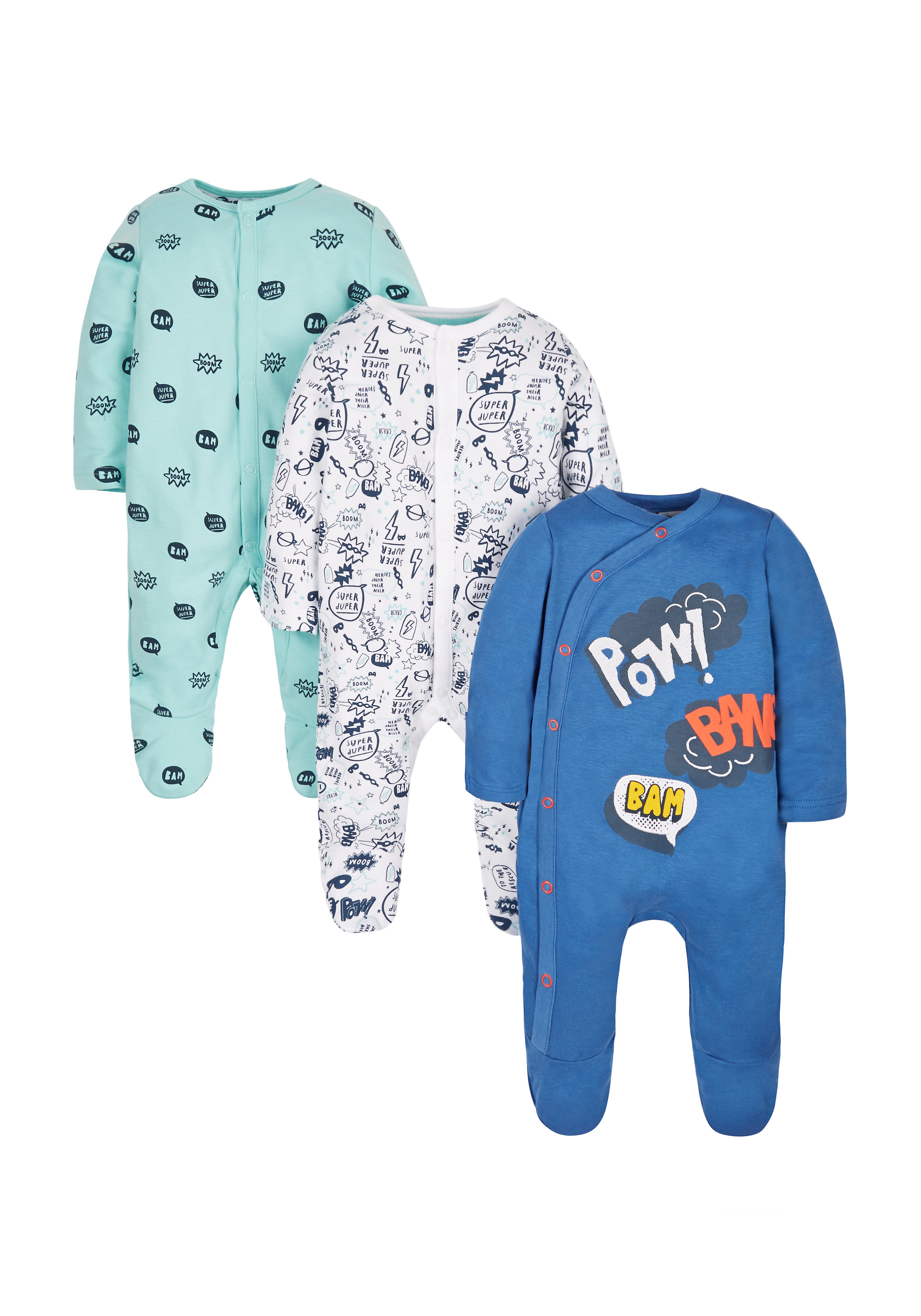 Mothercare | Boys Superhero Sleepsuits - Pack Of 3 - Navy