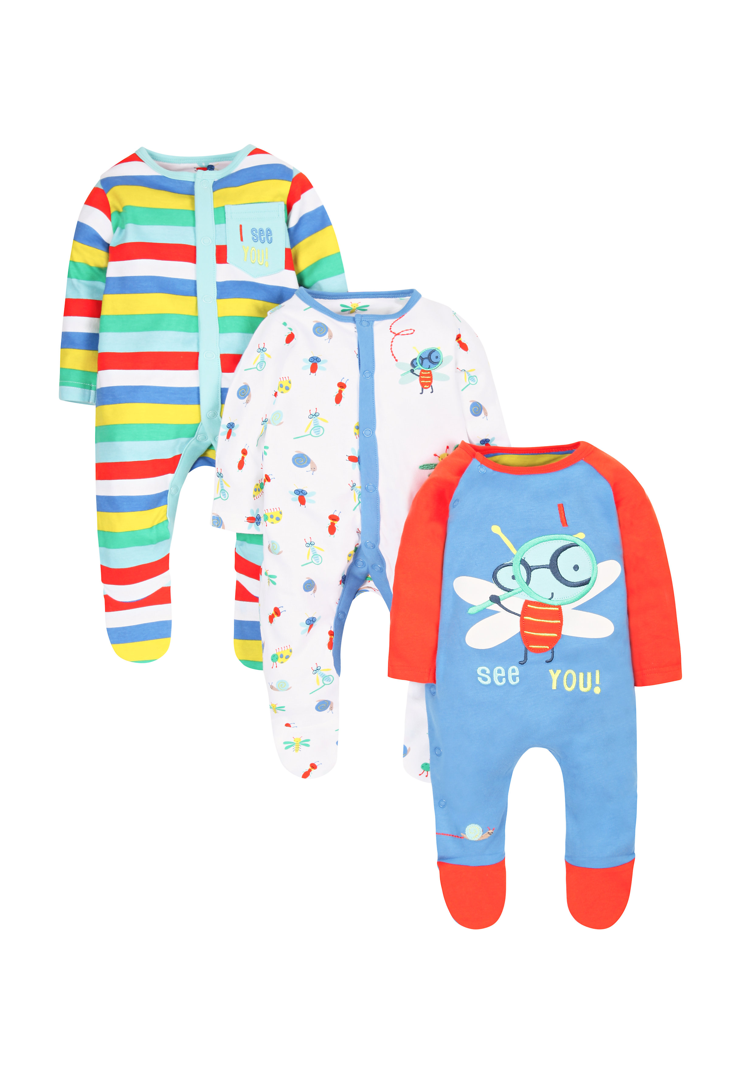 Mothercare | Boys Bug Sleepsuits - Pack Of 3