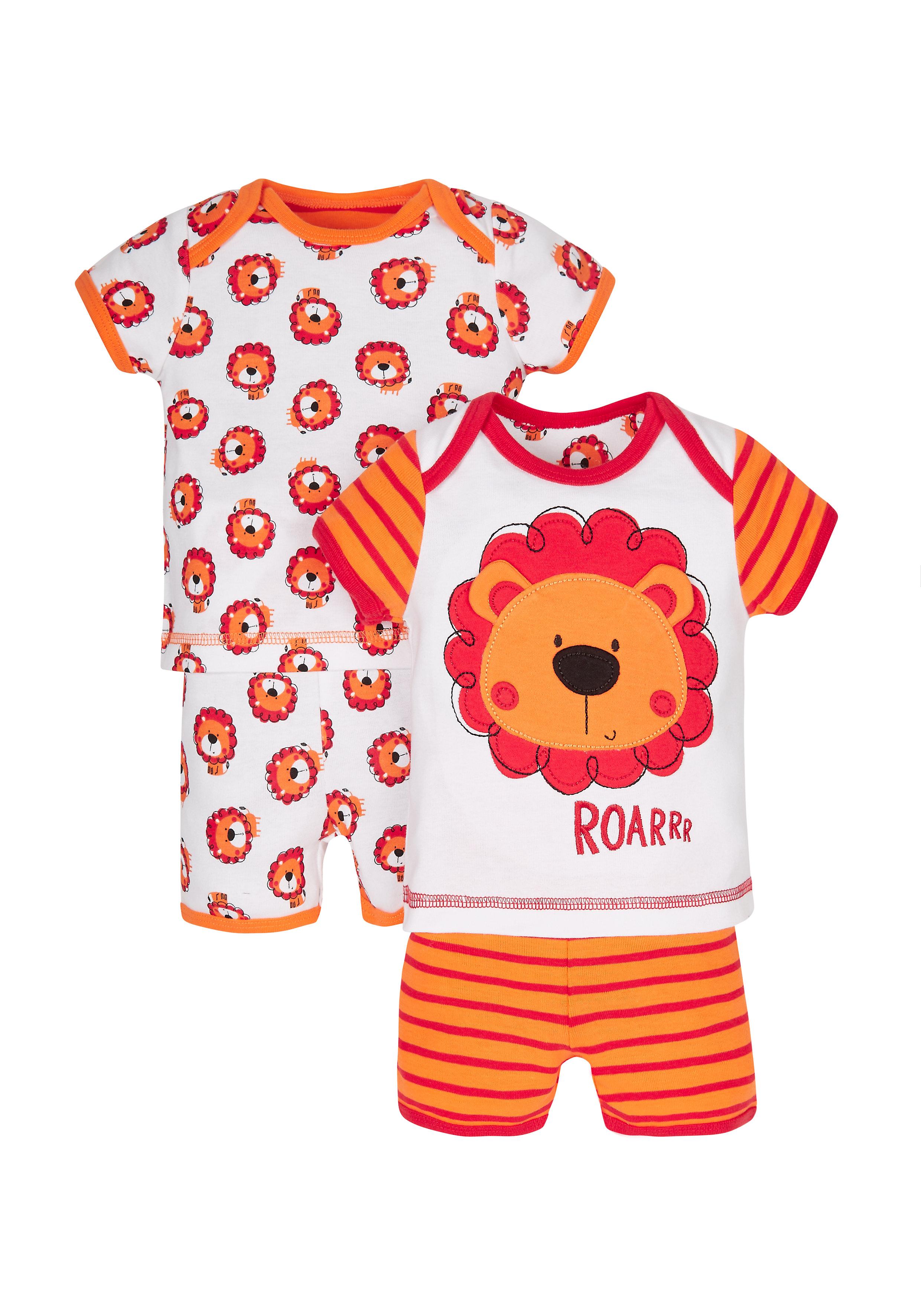 Mothercare | Boys Little Lion Shortie Pyjamas - 2 Pack - Orange