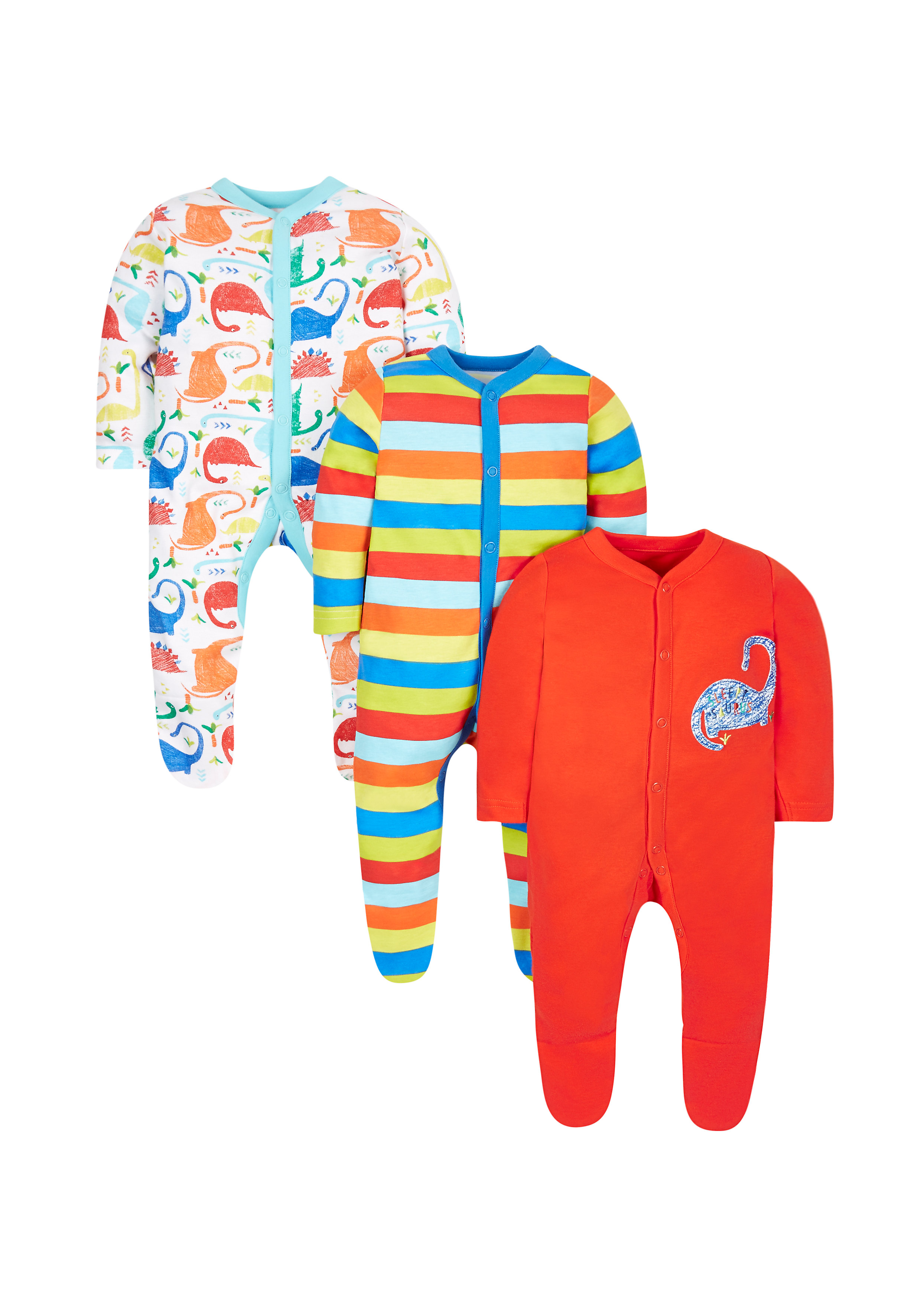 Mothercare | Boys Full Sleeves Dino Print Sleepsuit - Pack Of 3 - Multicolor