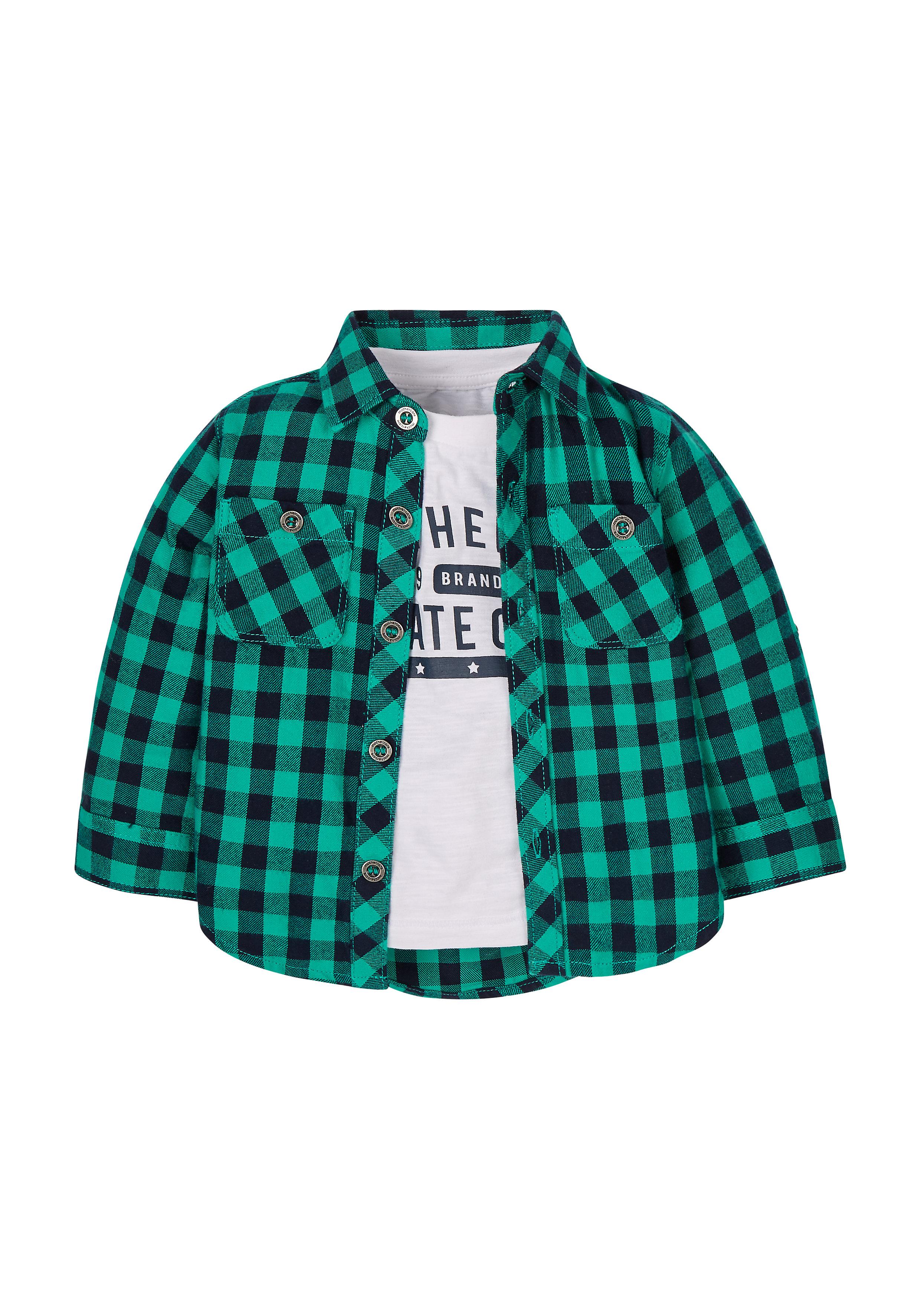 Mothercare | Boys Full Sleeves Check Shirt And T-Shirt Set  - Green