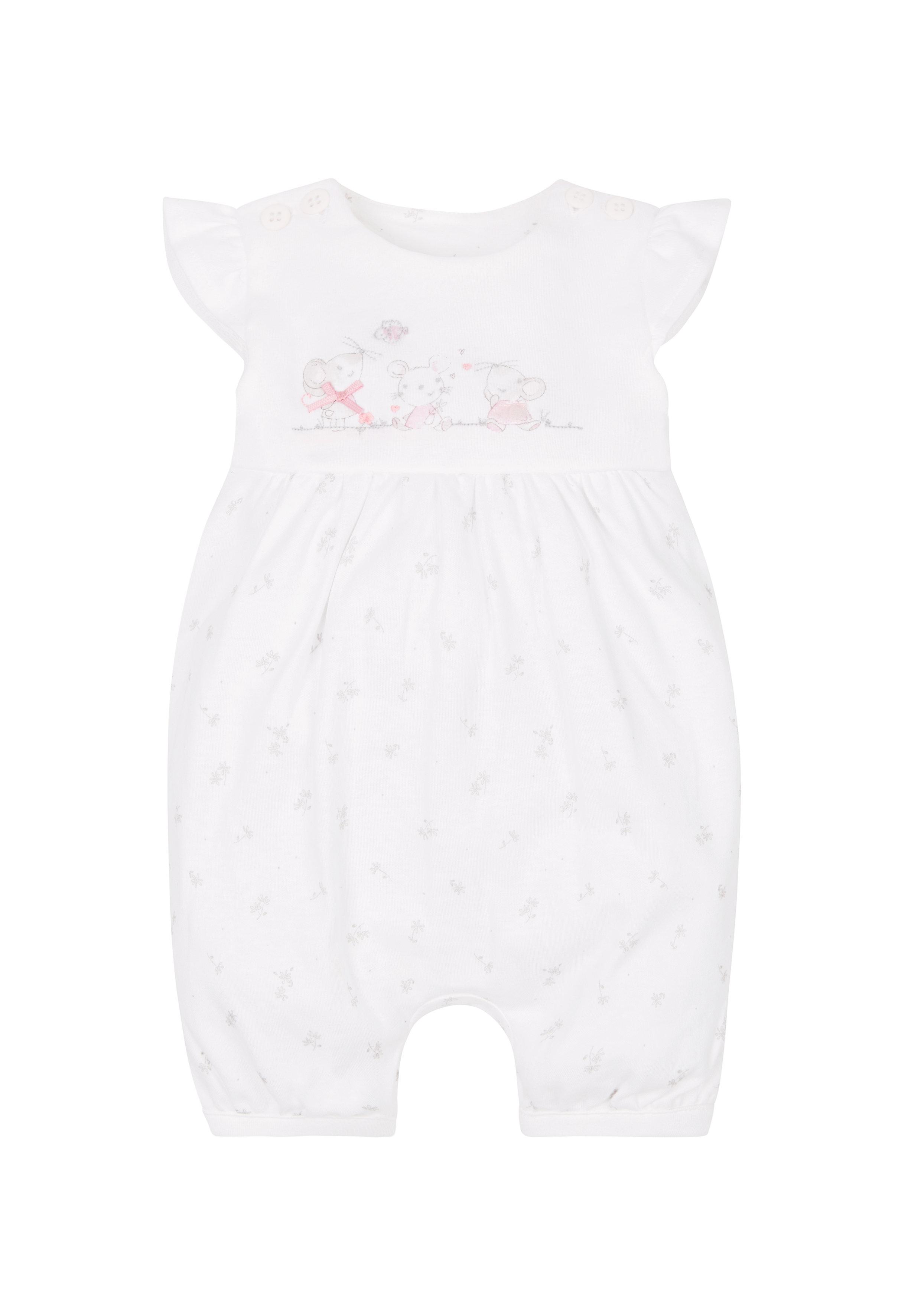 Mothercare | Girls Little Mouse Romper - White