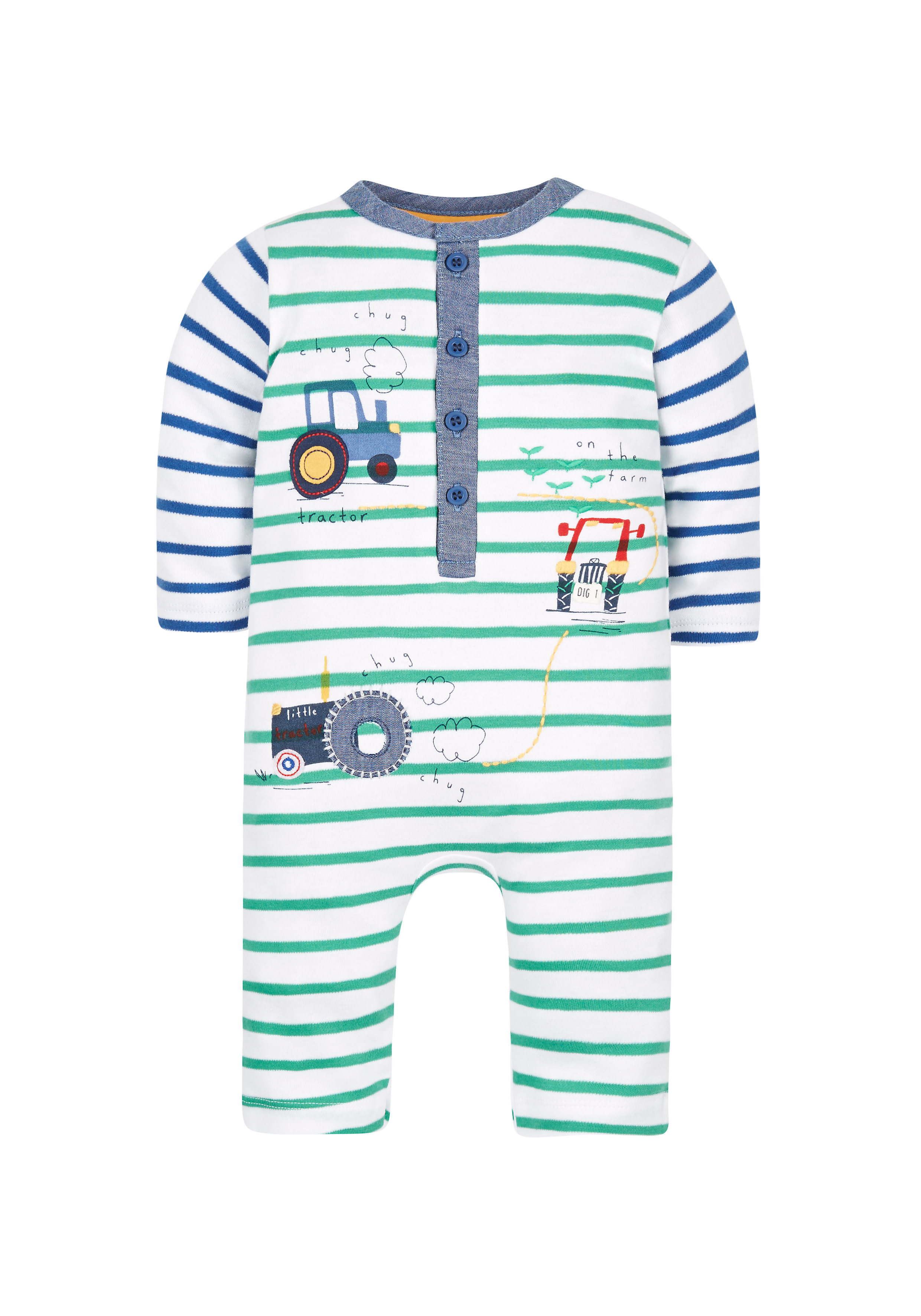 Mothercare | Boys Striped Tractor All In One - Green