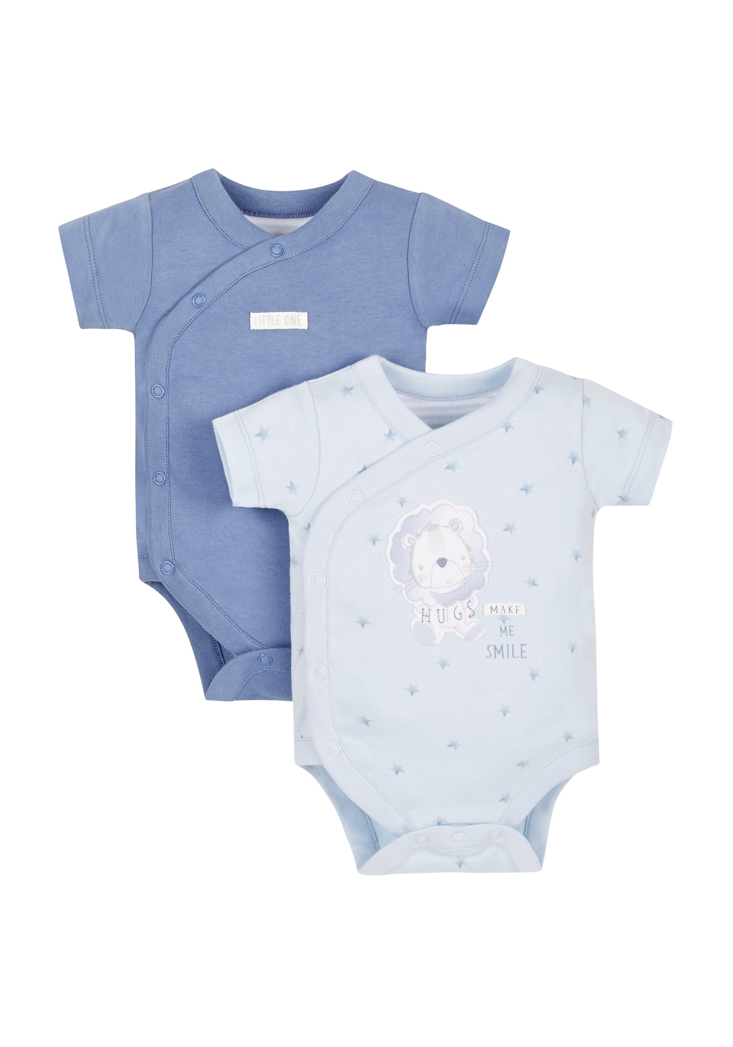 Mothercare | Boys My Little Lion Wrap Bodysuit- Pack Of 2