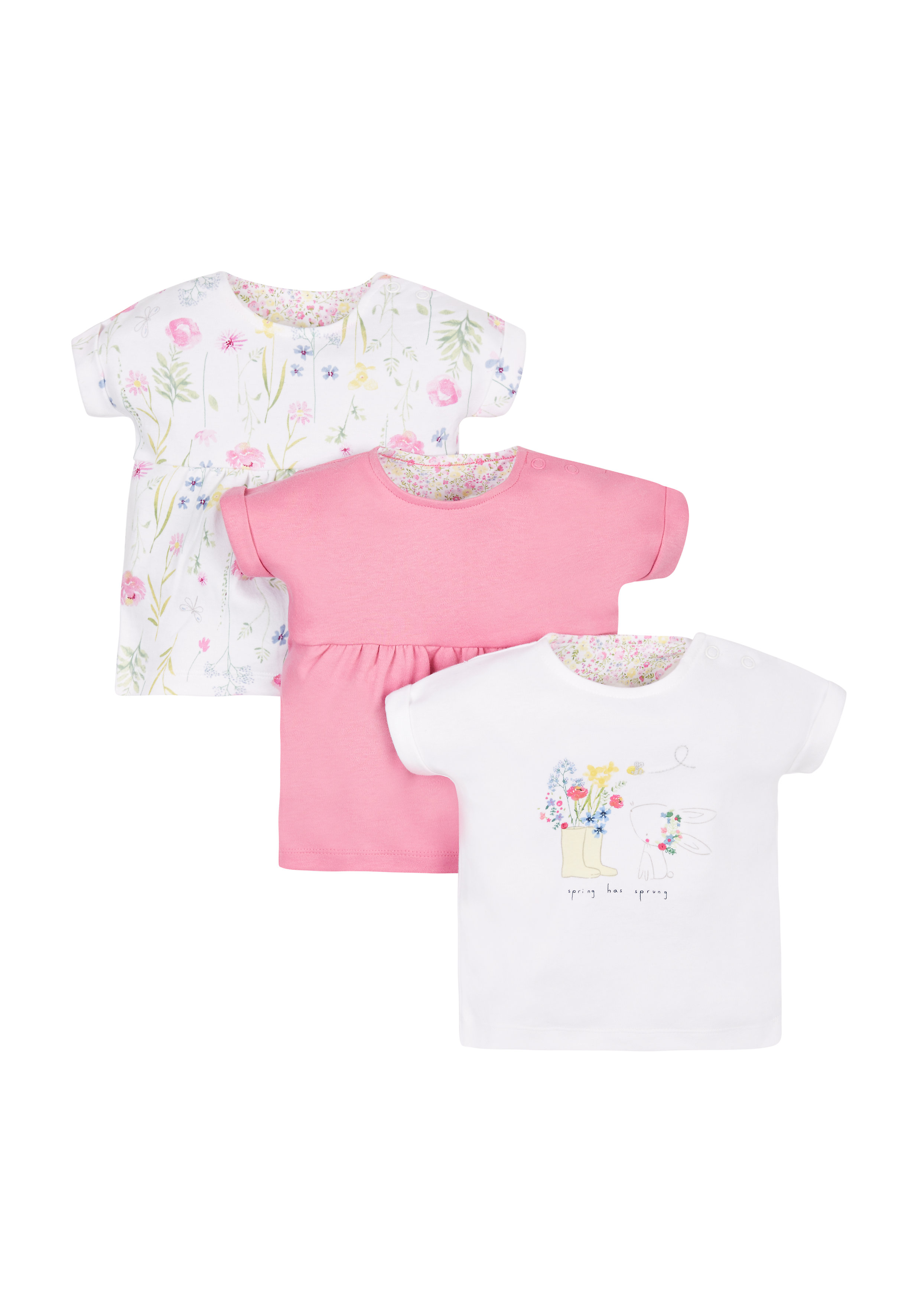 Mothercare | Girls Floral Tops - Pack Of 3