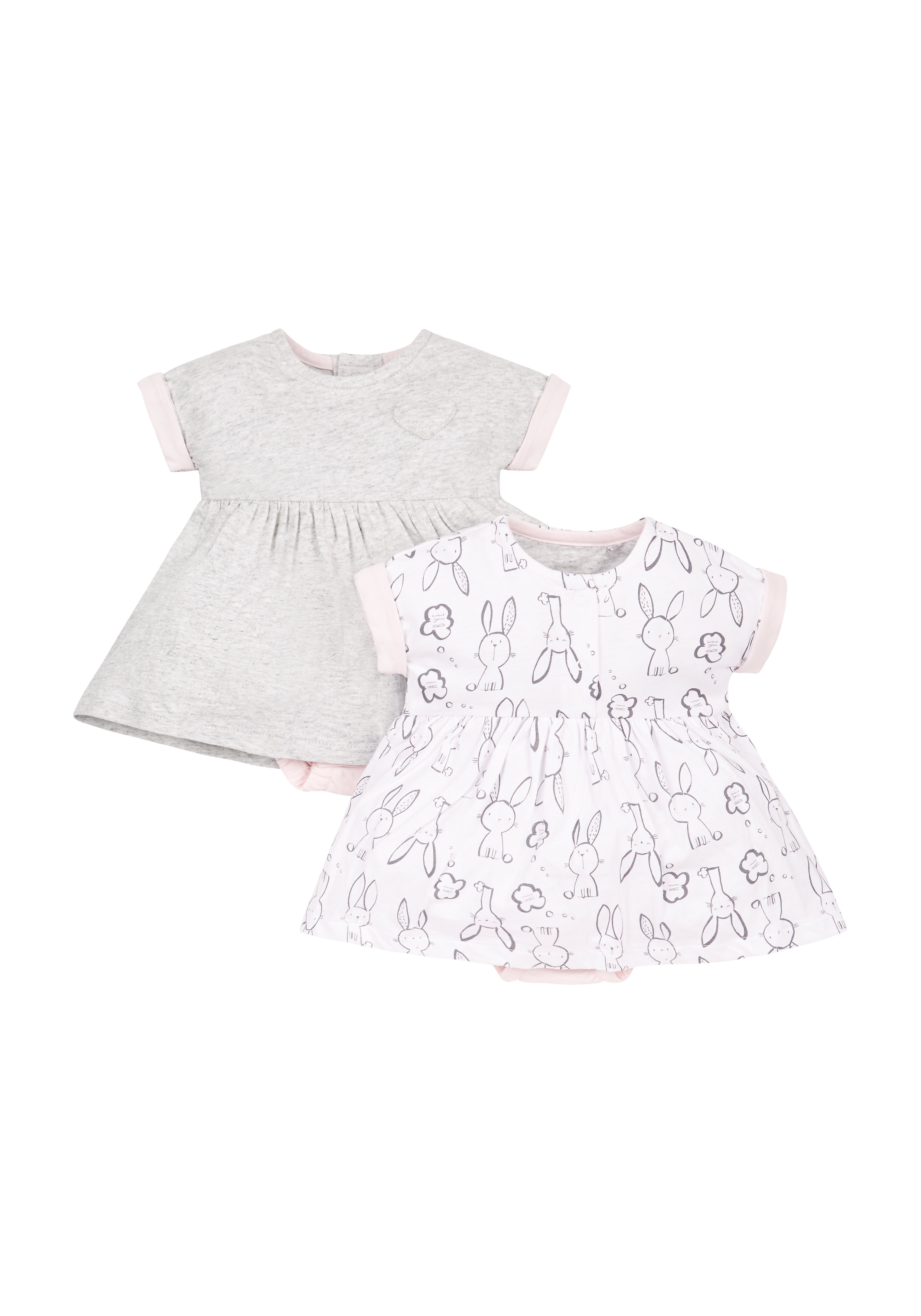 Mothercare | Girls Bunny And Grey Romper Dresses - Pack Of 2