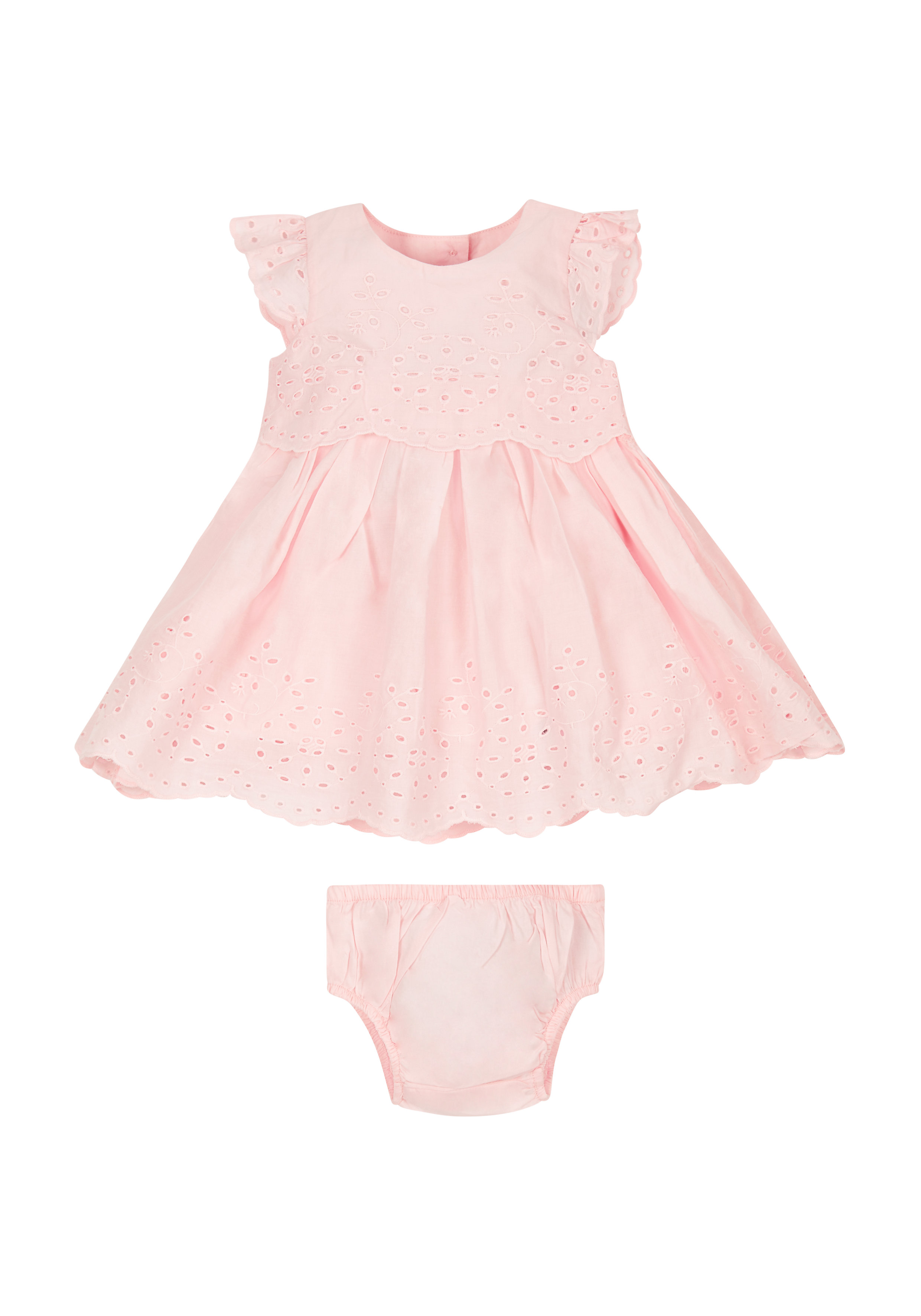 Mothercare | Girls Pink Broderie Dress And Knickers Set