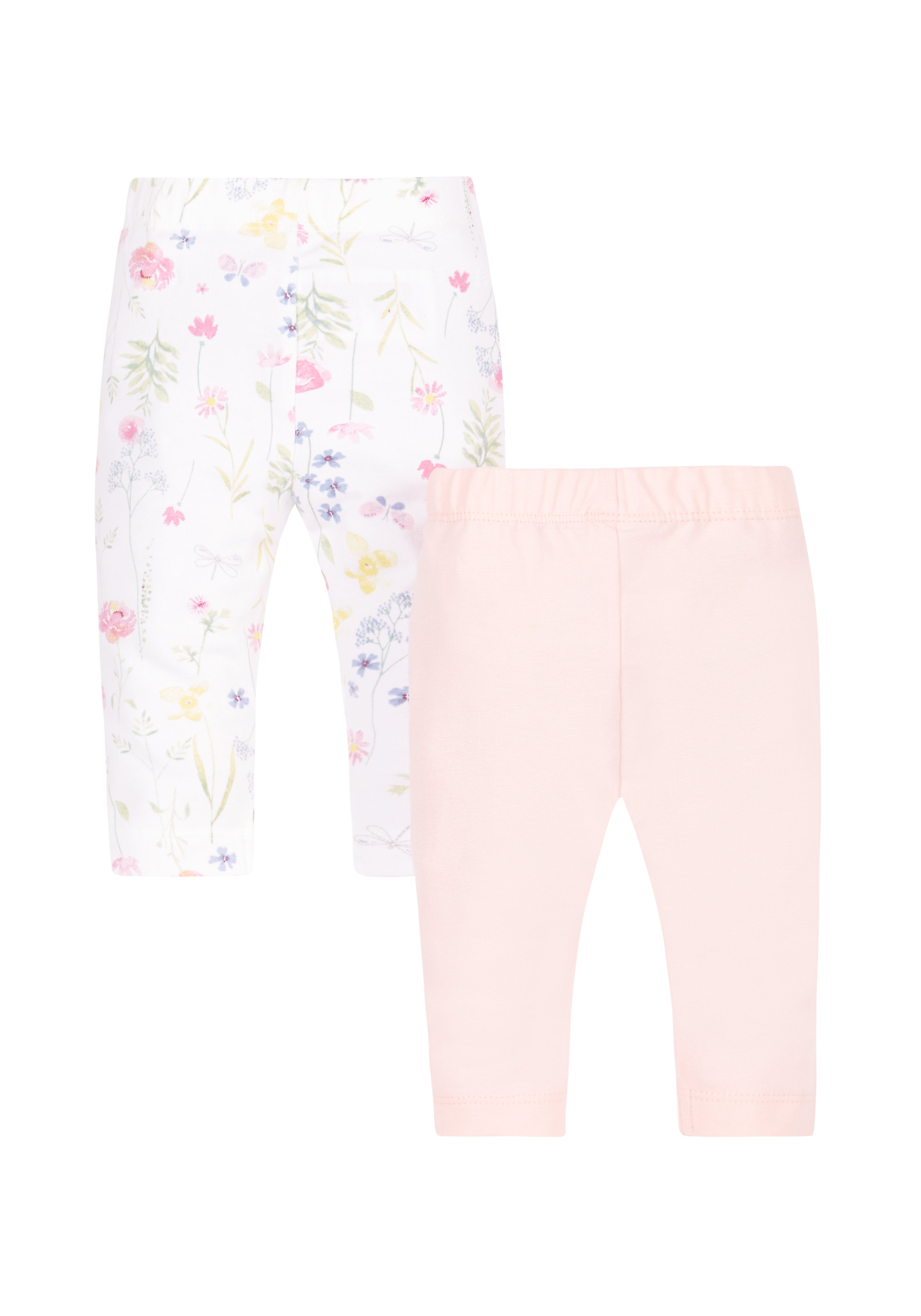 Mothercare | Girls Pink And Floral Leggings - 2 Pack - Multicolor
