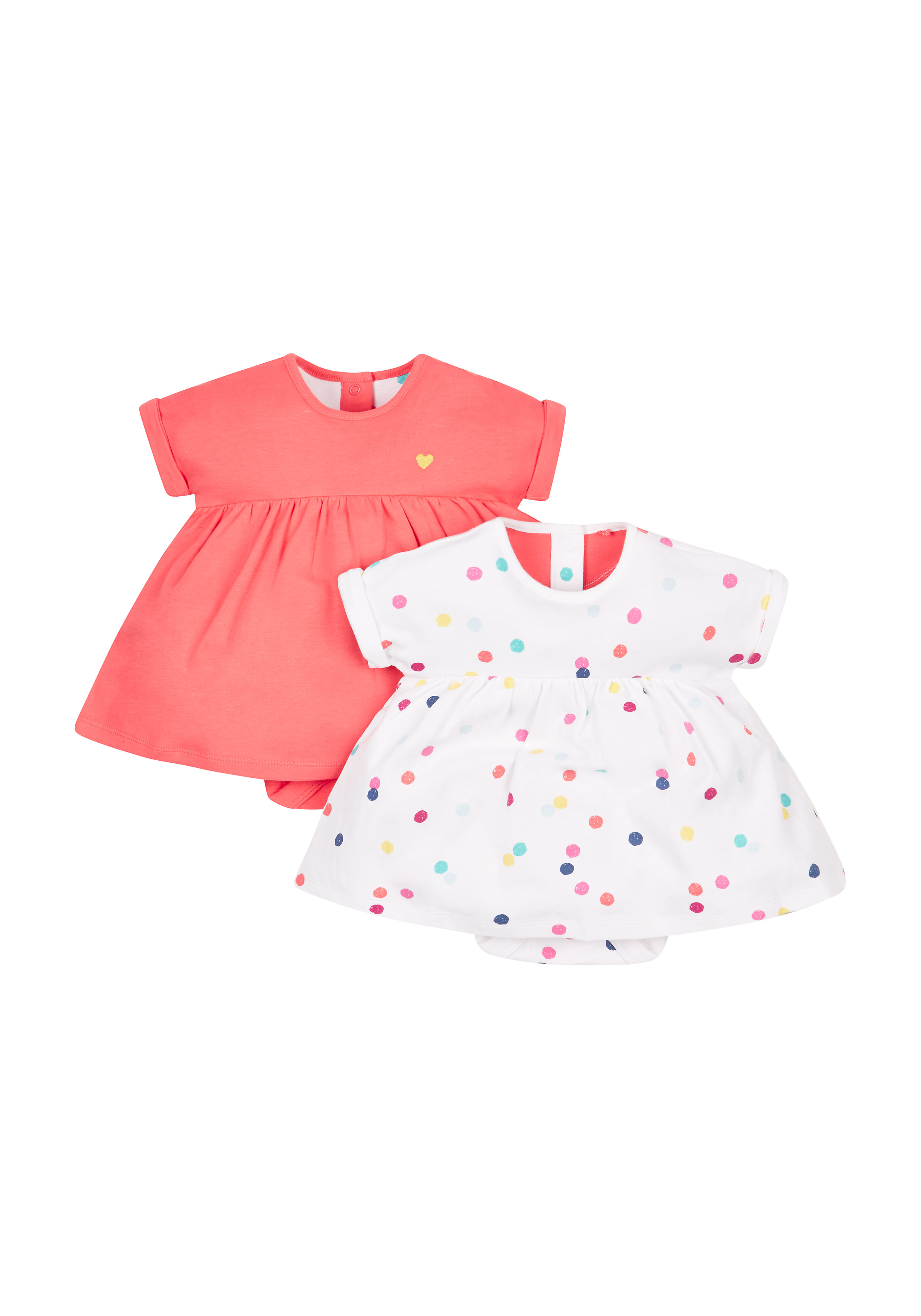 Mothercare | Girls Spotty And Pink Romper Dress - Pack Of 2