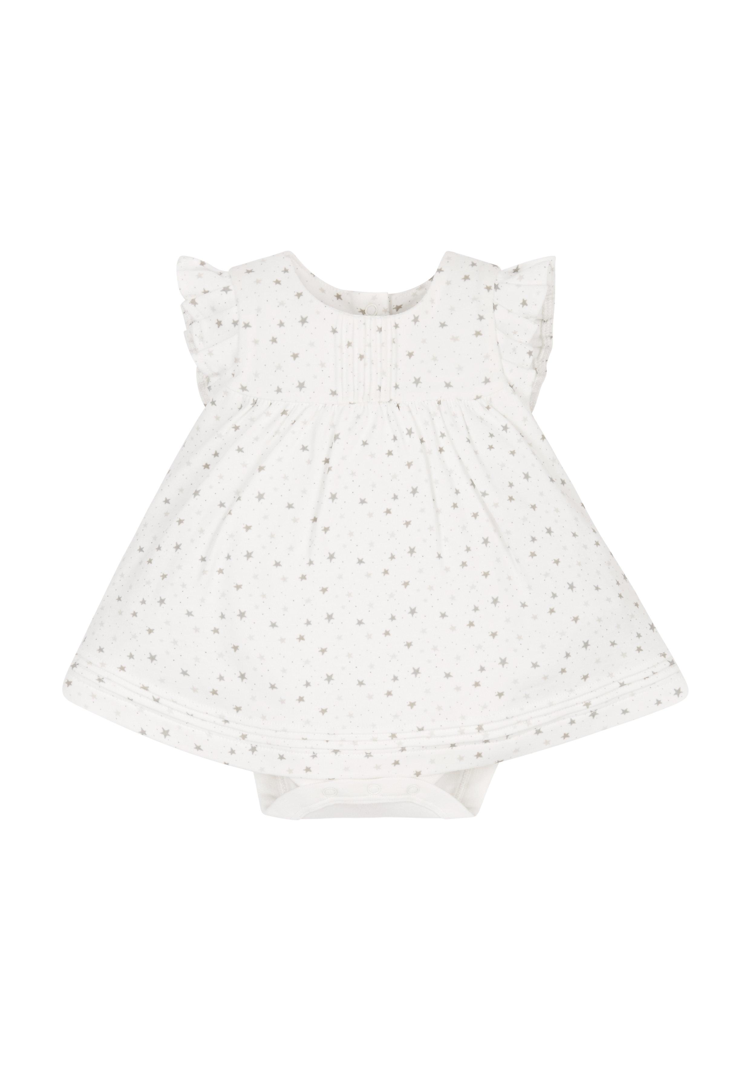 Mothercare | Girls Star Romper Dress - Cream