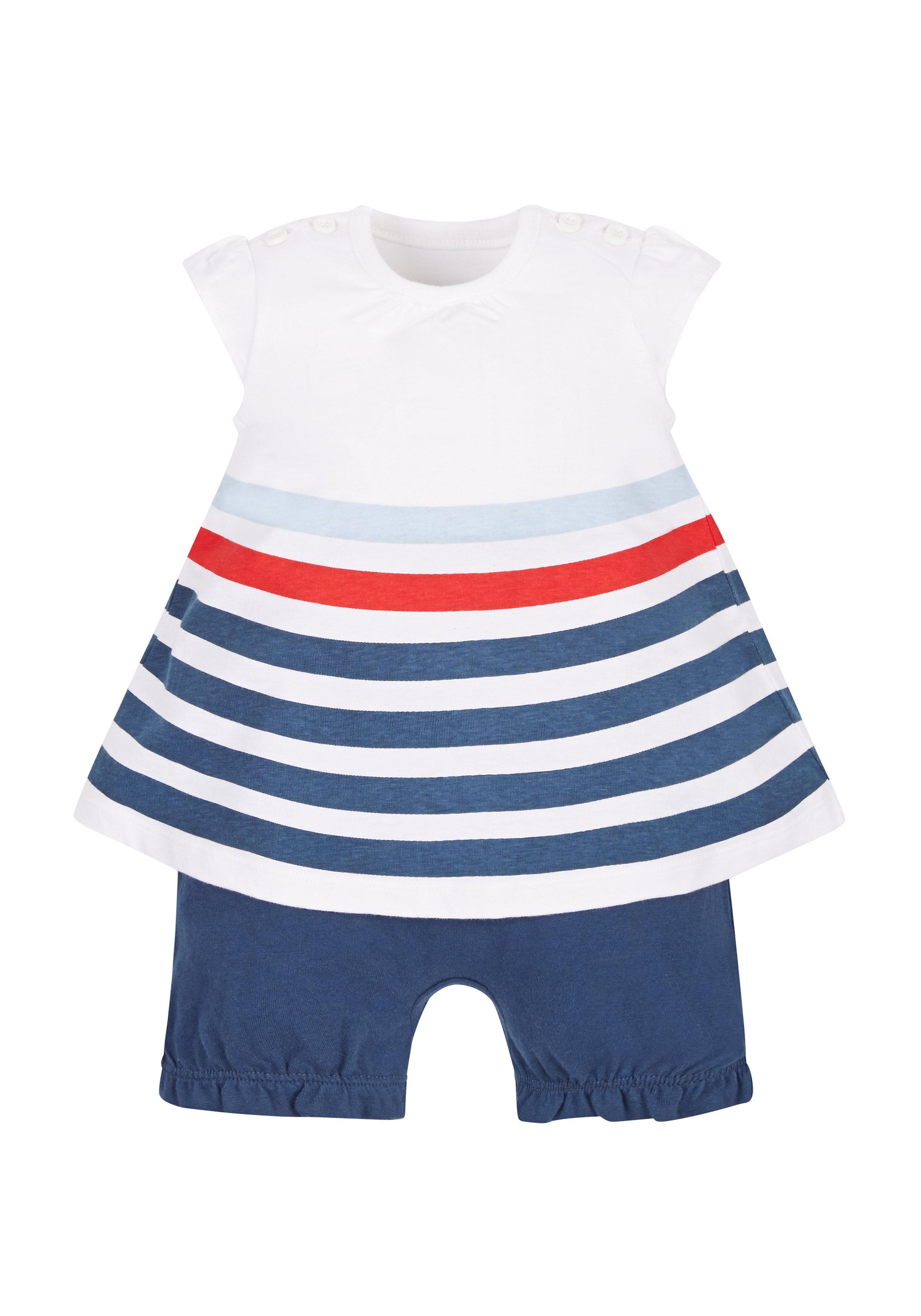 Mothercare   Girls Stripy Bloomer Romper - Navy