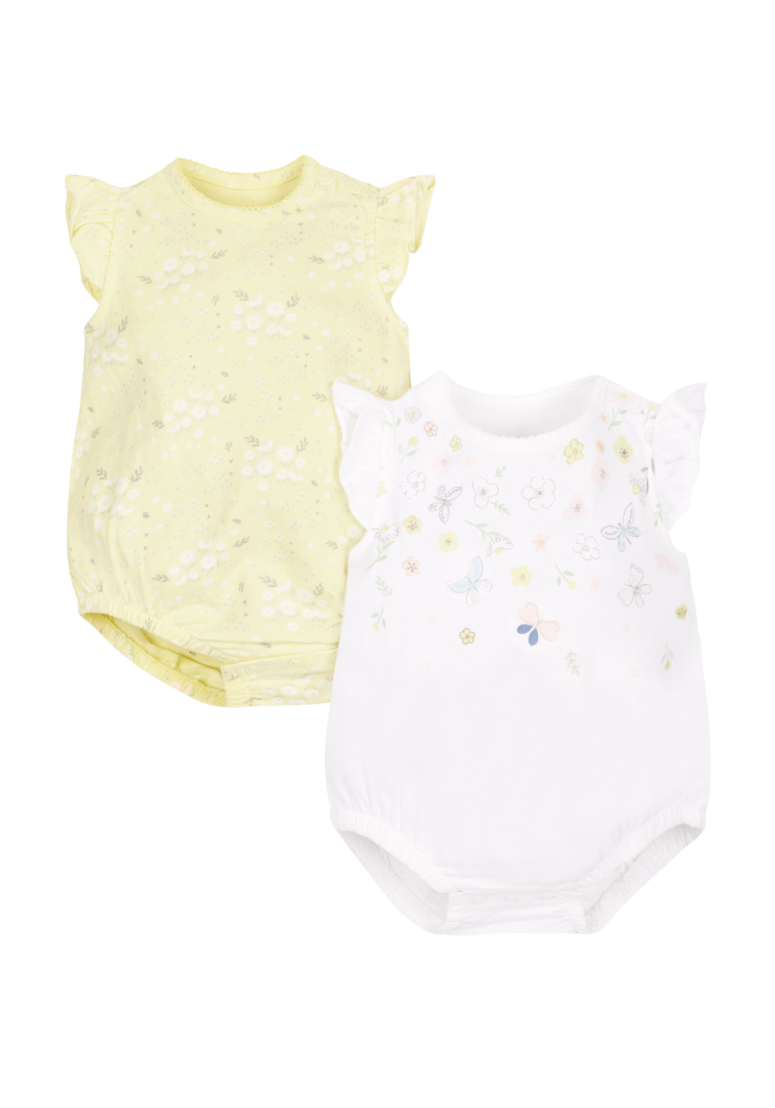 Mothercare | Girls Floral Bodysuits - Pack Of 2