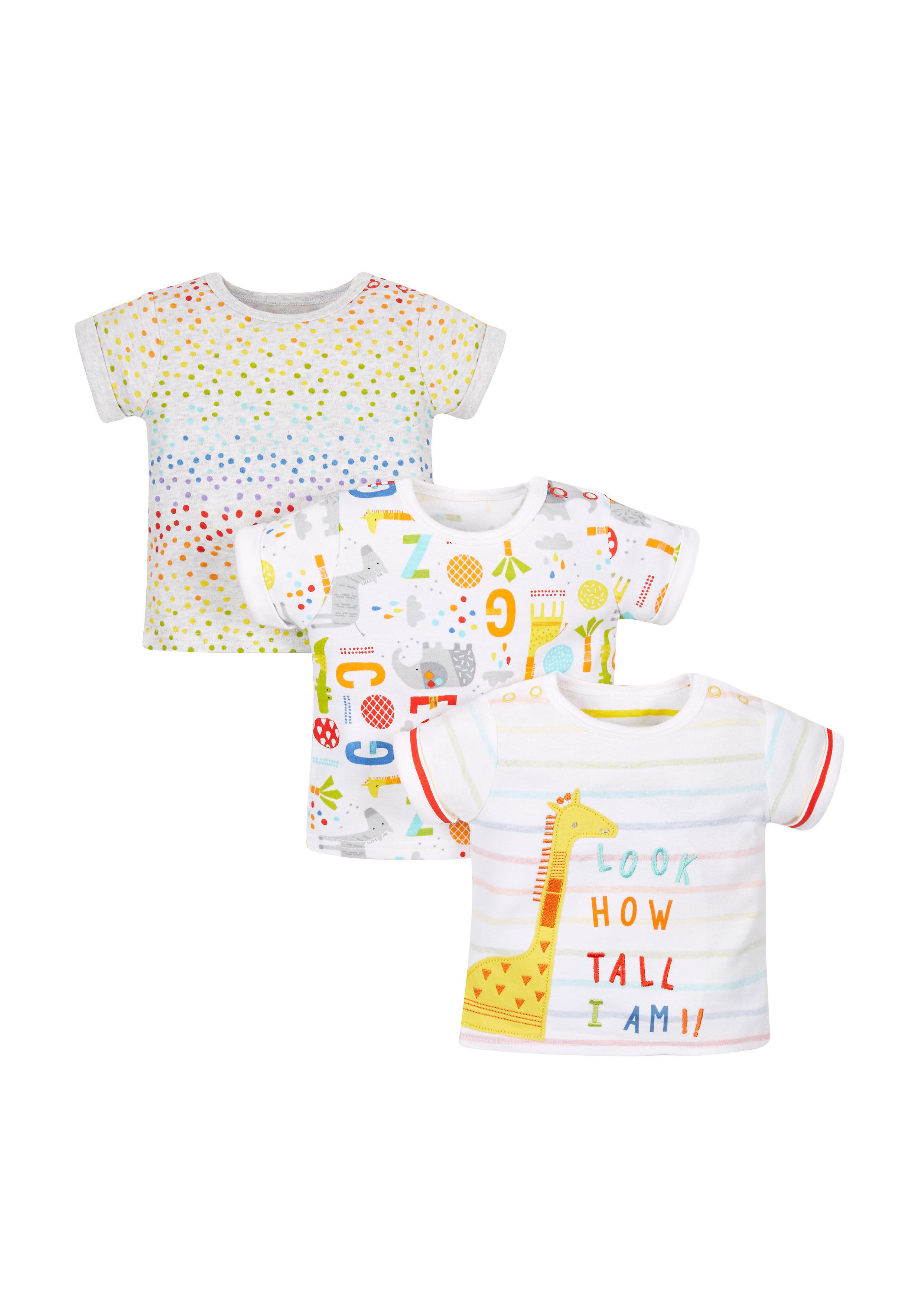 Mothercare | Unisex Animal Alphabet T-Shirts - Pack Of 3