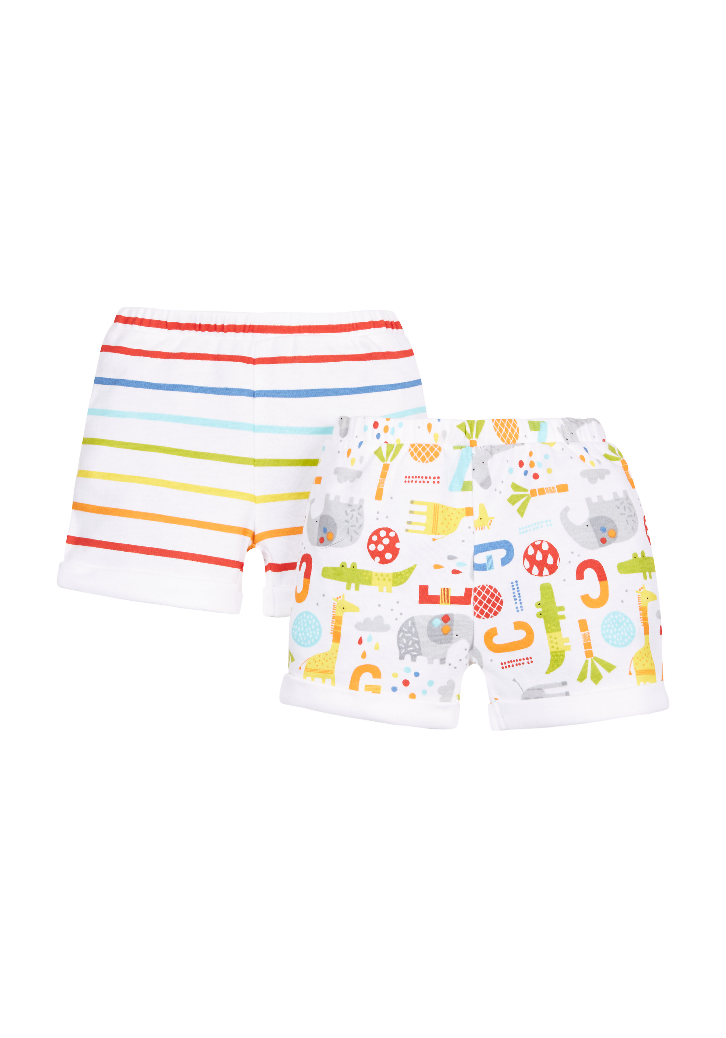 Mothercare | Unisex Striped And Printed Shorts - Pack Of 2 - Multicolor
