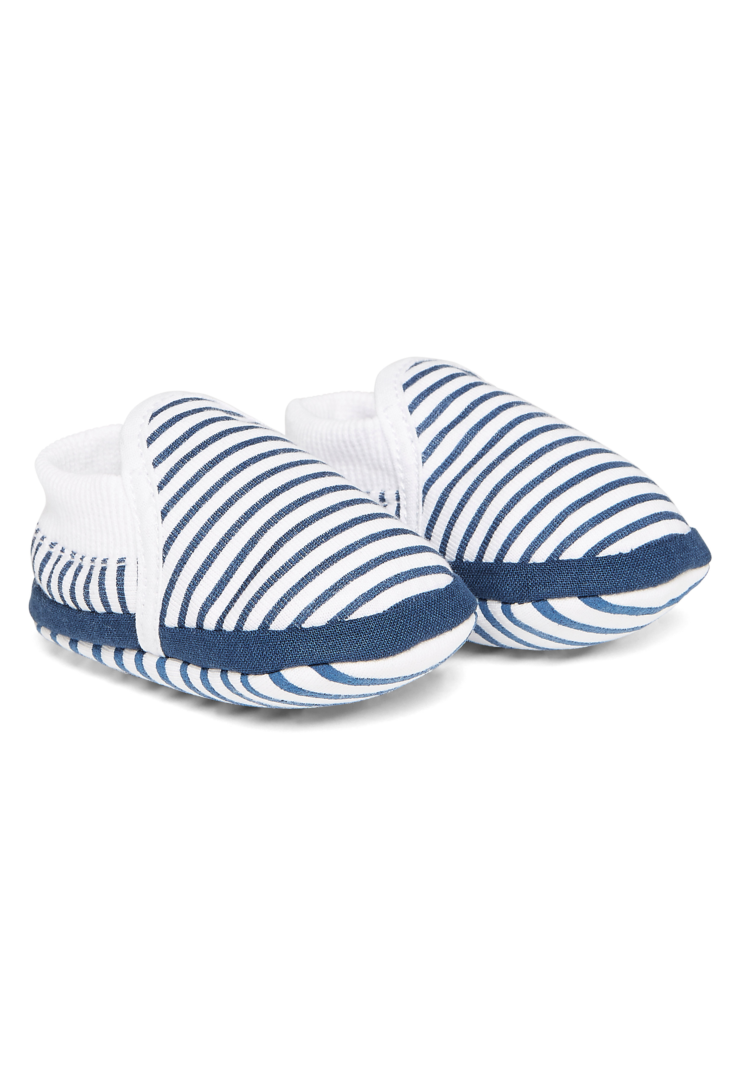 Mothercare   Boys Navy And White Stripe Booties