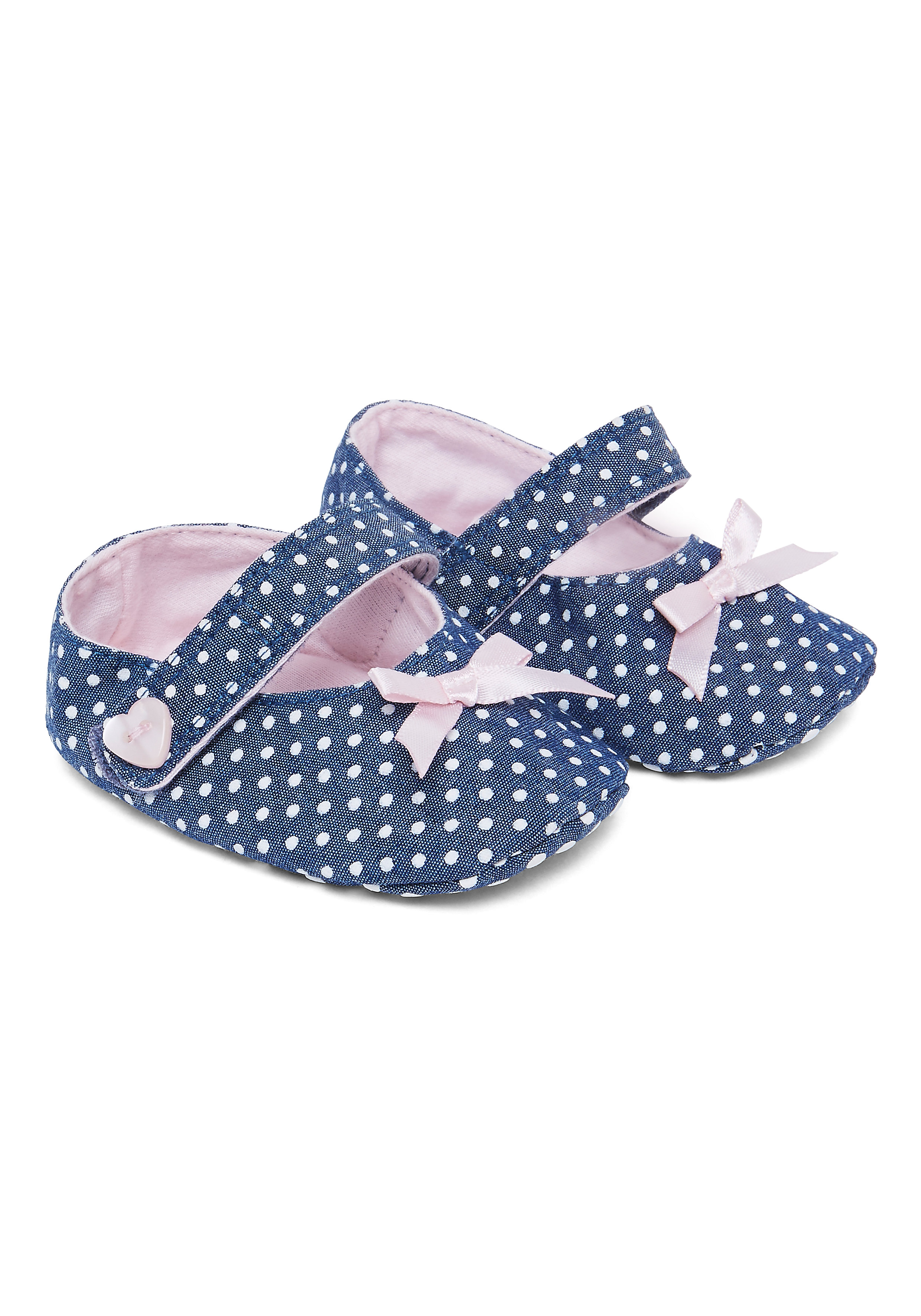 Mothercare | Girls Spotty Denim Mary Jane Shoes - Navy