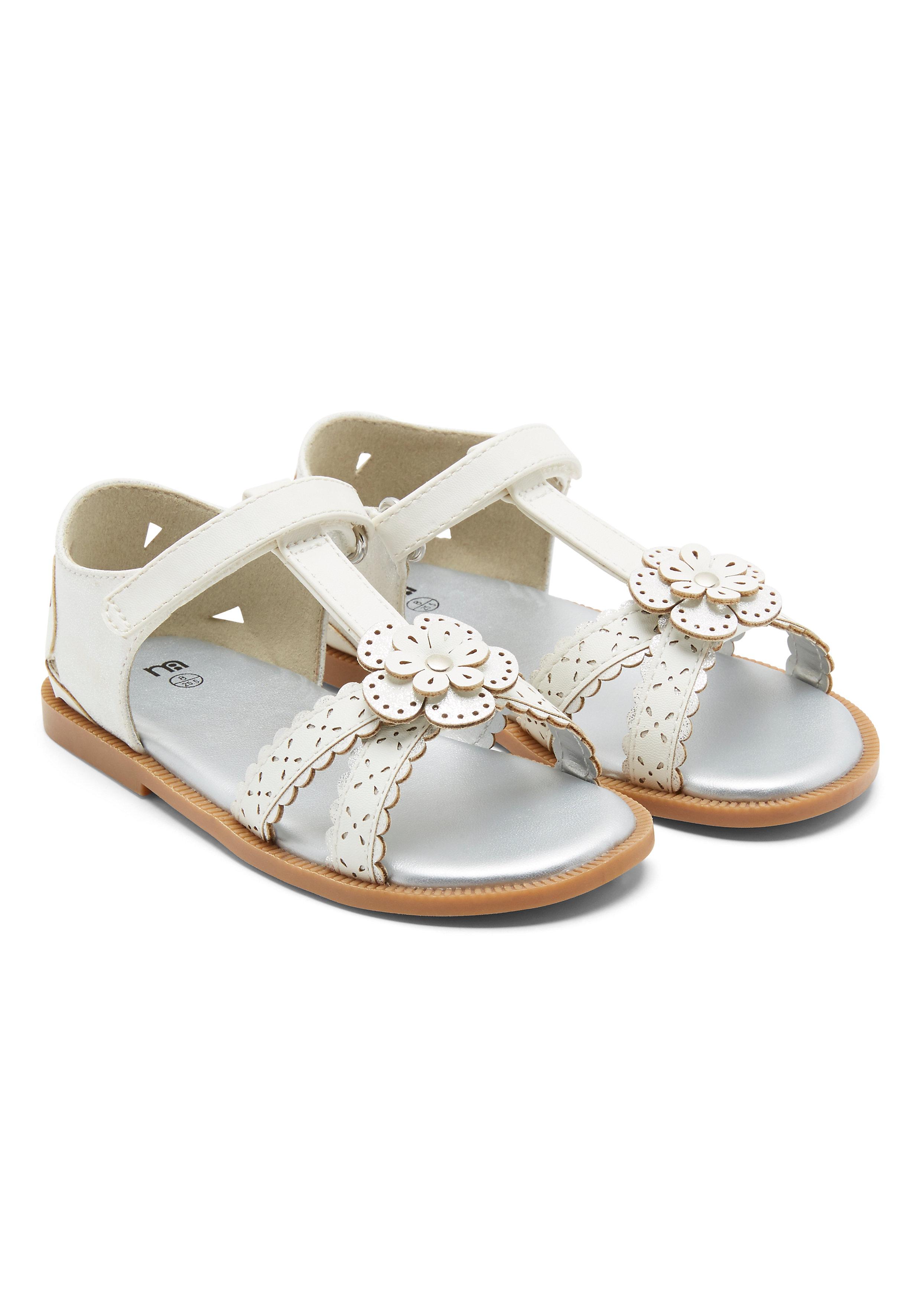 Mothercare   Girls  Flower Sandals - White