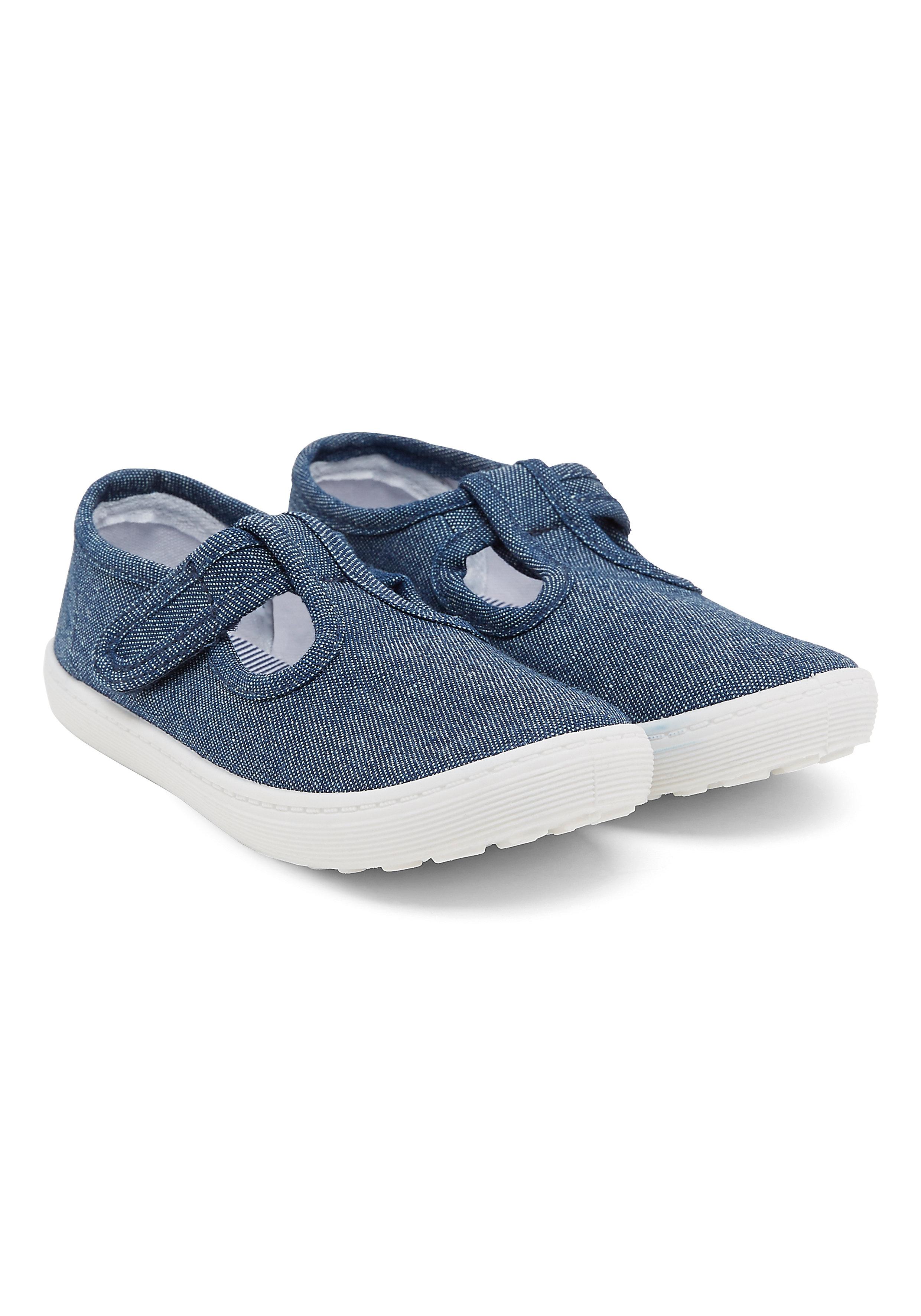 Mothercare | Boys  Denim T-Bar Canvas Shoes - Denim