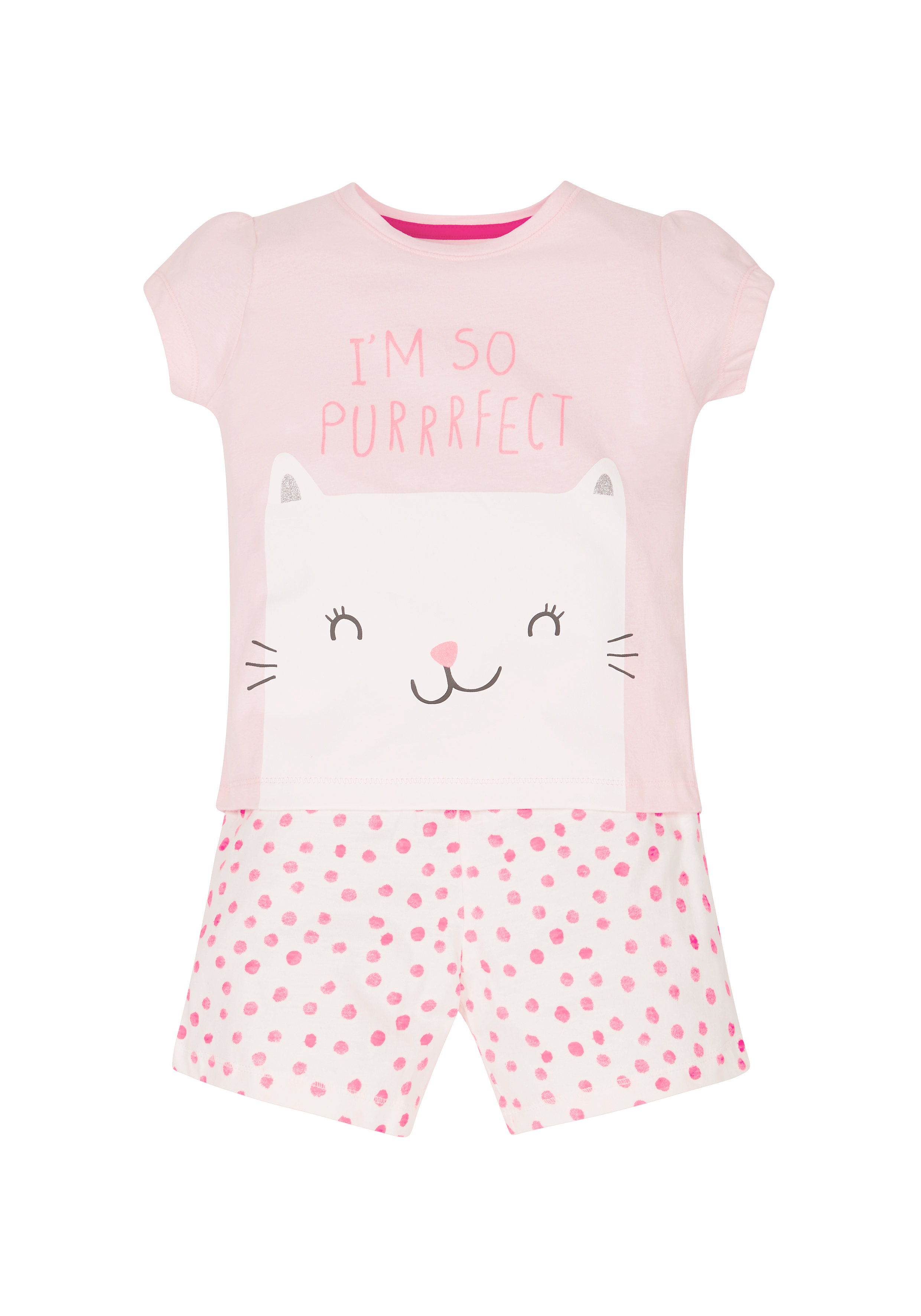 Mothercare | Girls I'M So Purrfect Shortie Pyjamas  - Pink