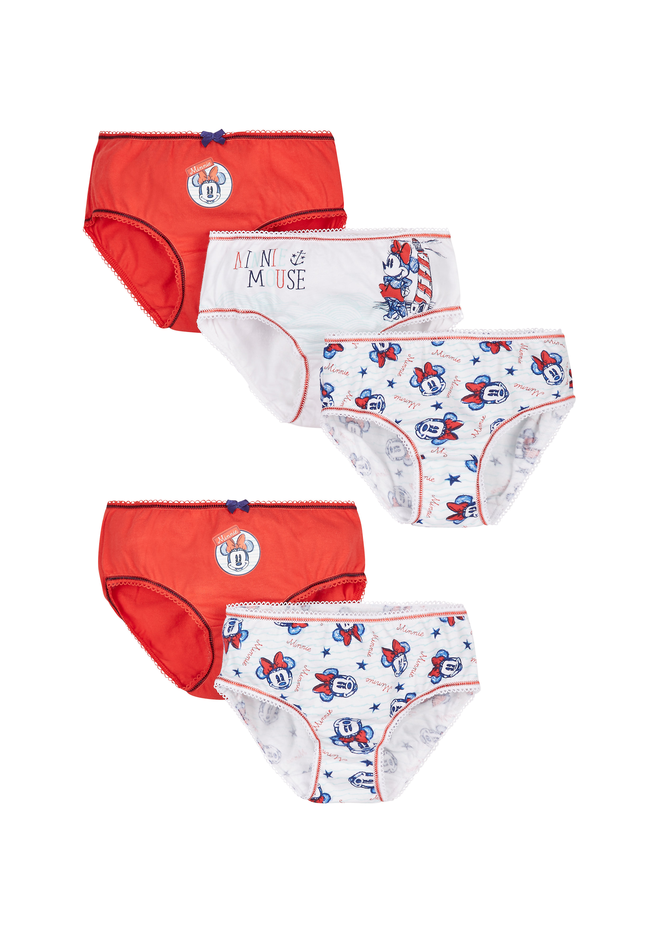 Mothercare   Girls Disney Minnie Mouse Briefs - 5 Pack - Blue