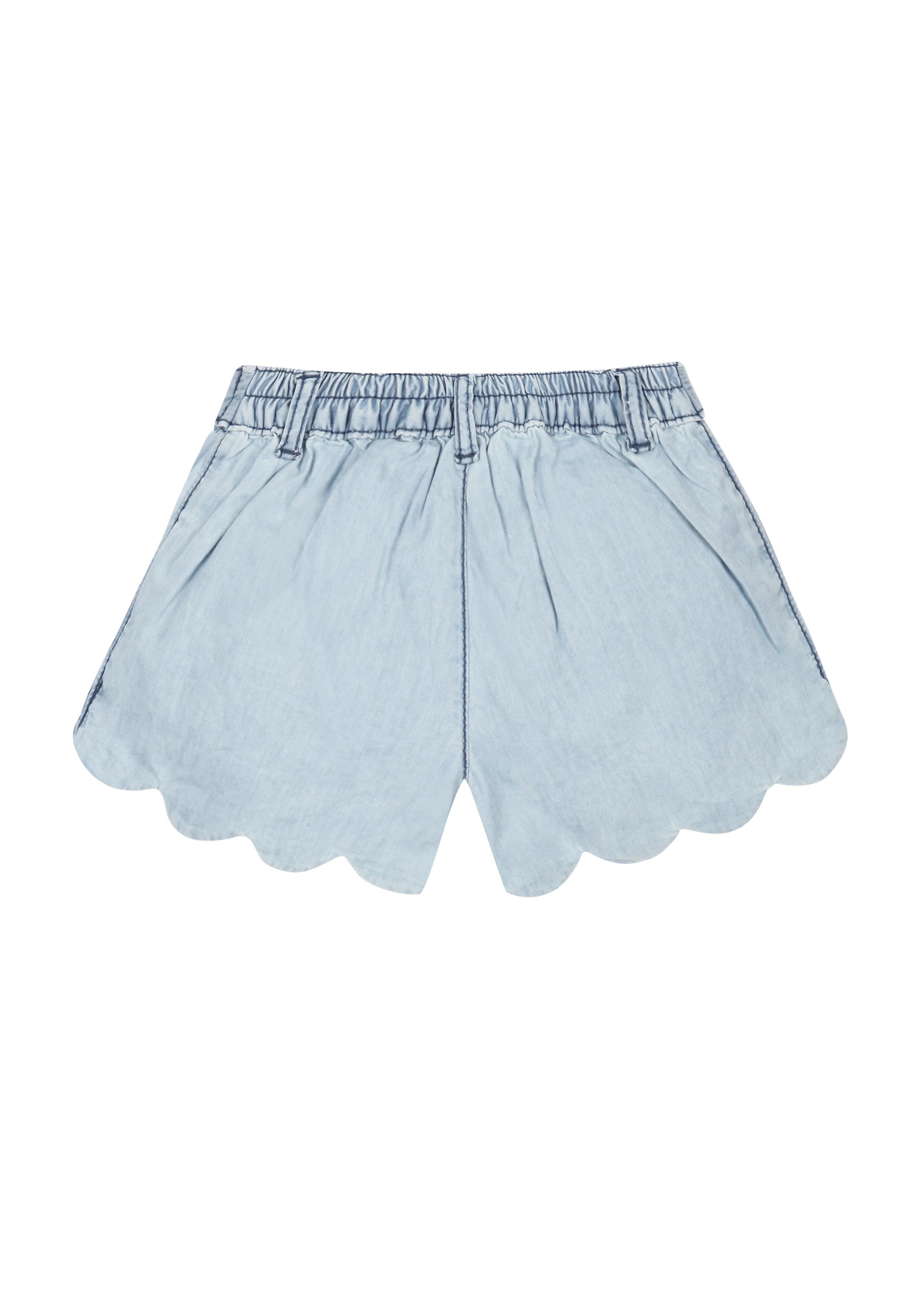 Mothercare | Girls Scalloped Chambray Shorts  - Denim
