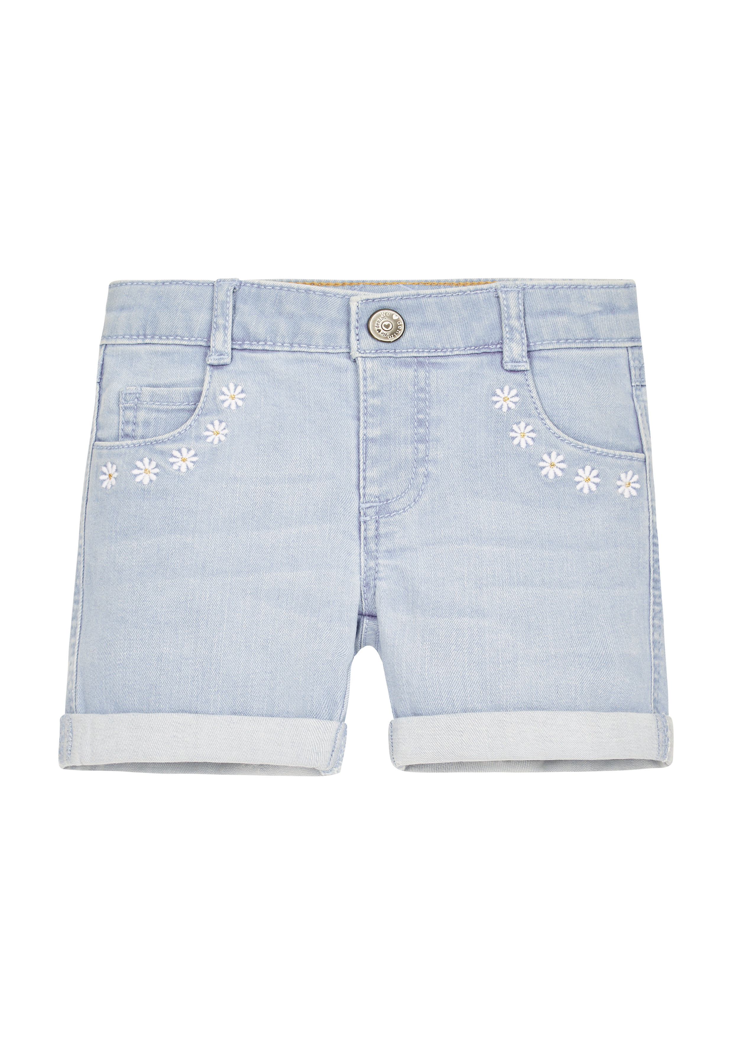 Mothercare | Girls Embroidered Daisy Shorts - Denim