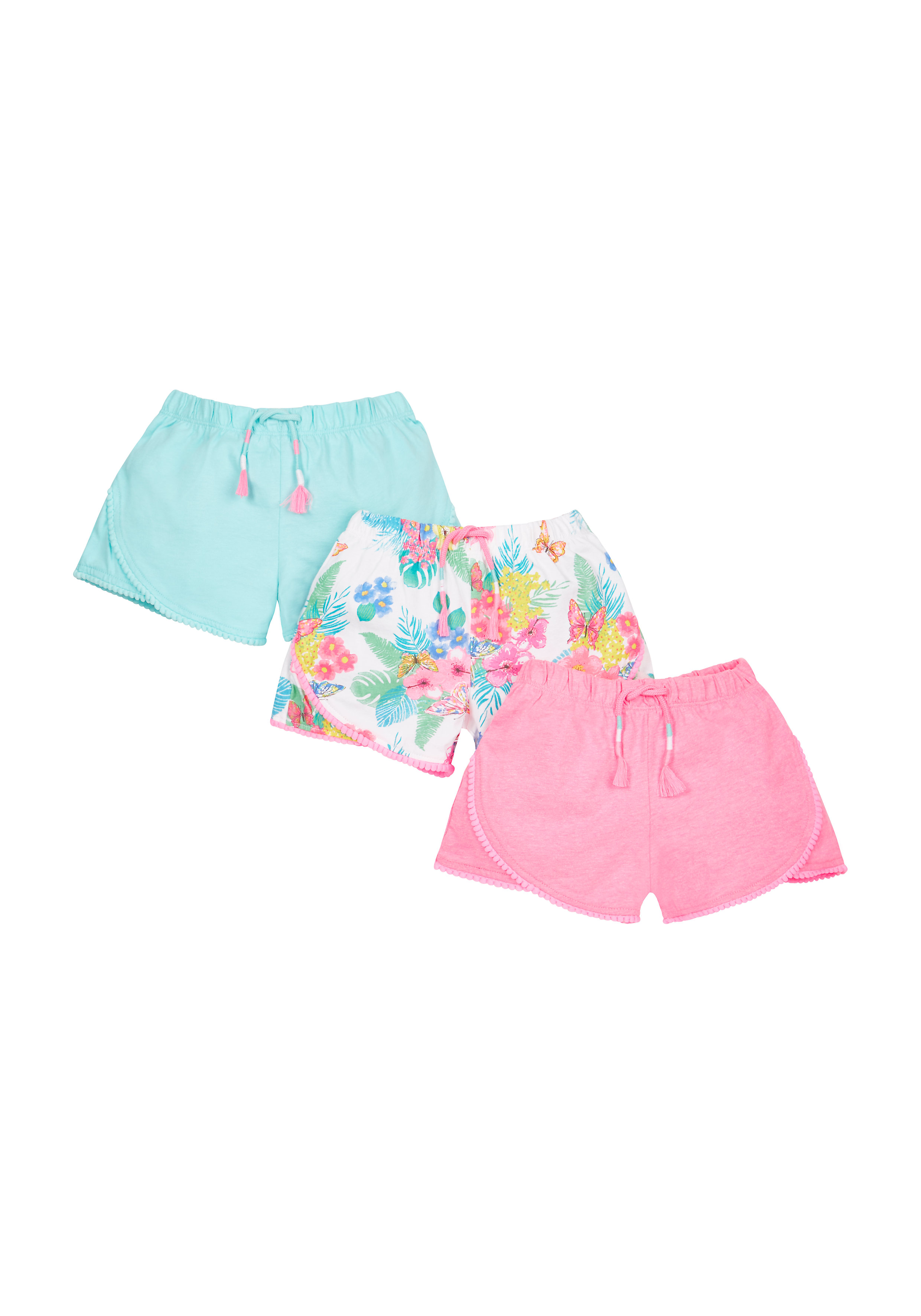 Mothercare | Girls Floral Jersey Shorts - Pack Of 3 - Multicolor
