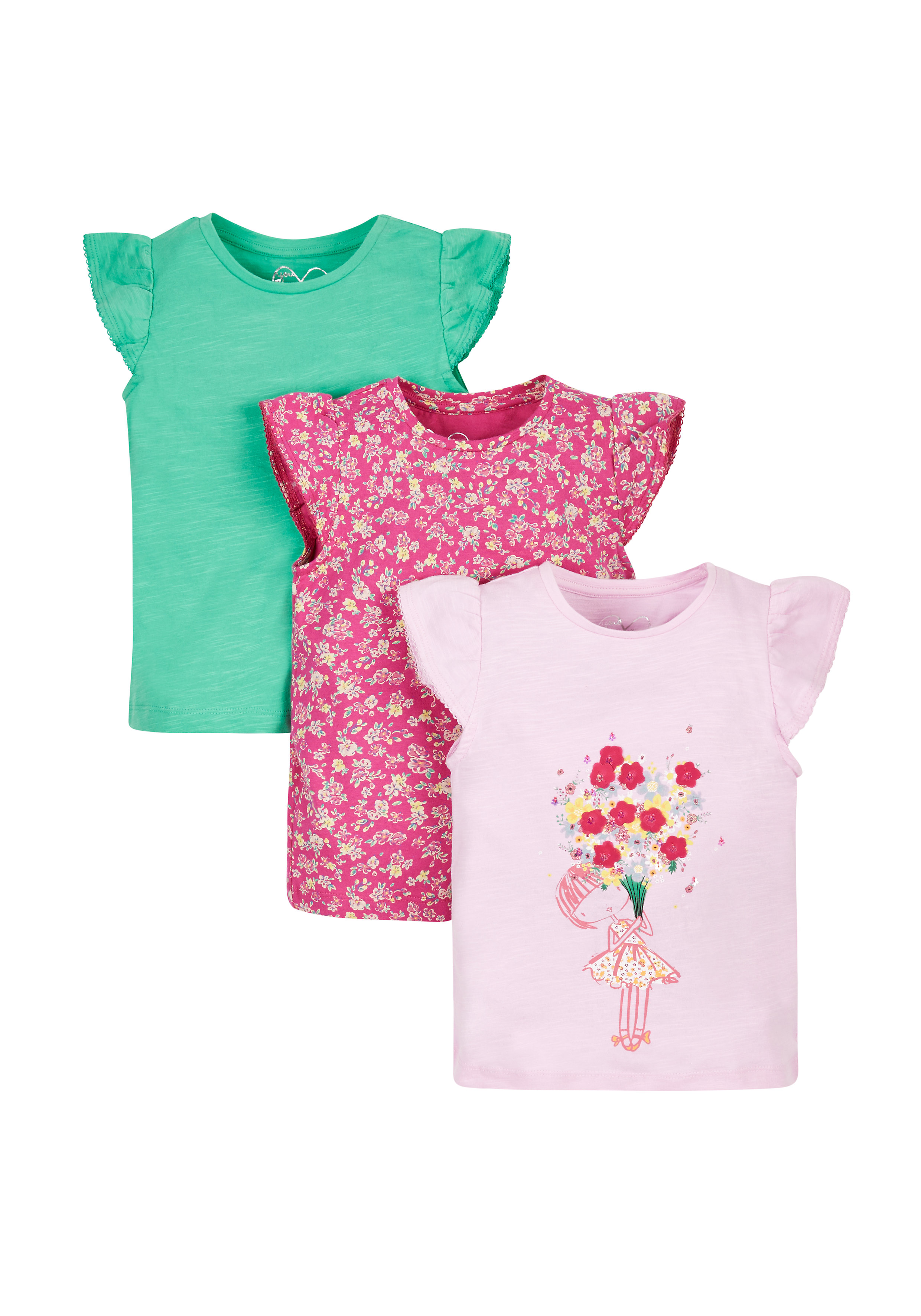 Mothercare | Girls Flower T-Shirts - 3 Pack - Multicolor