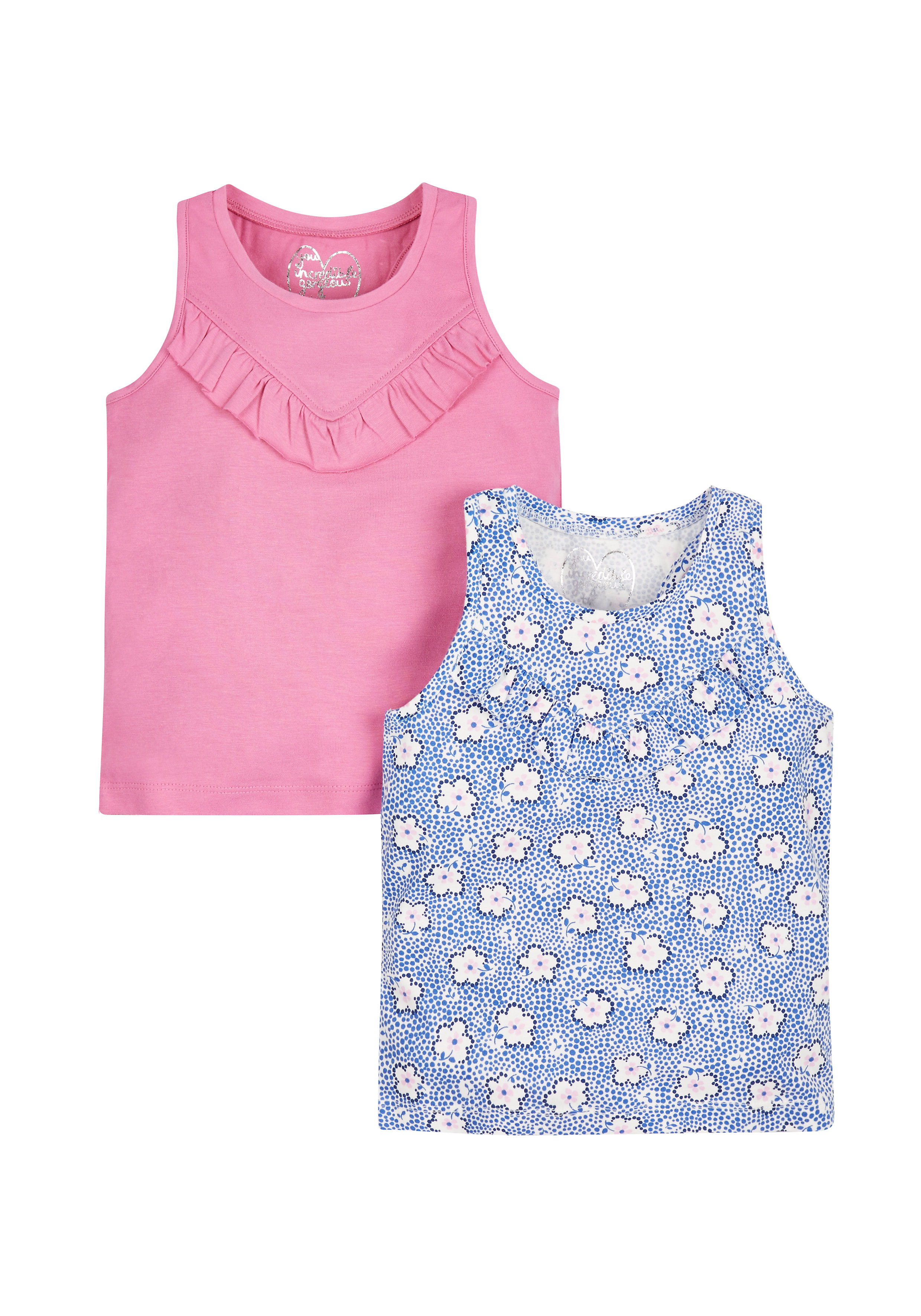 Mothercare   Girls Floral And  Vests - Pack Of 2 - Pink