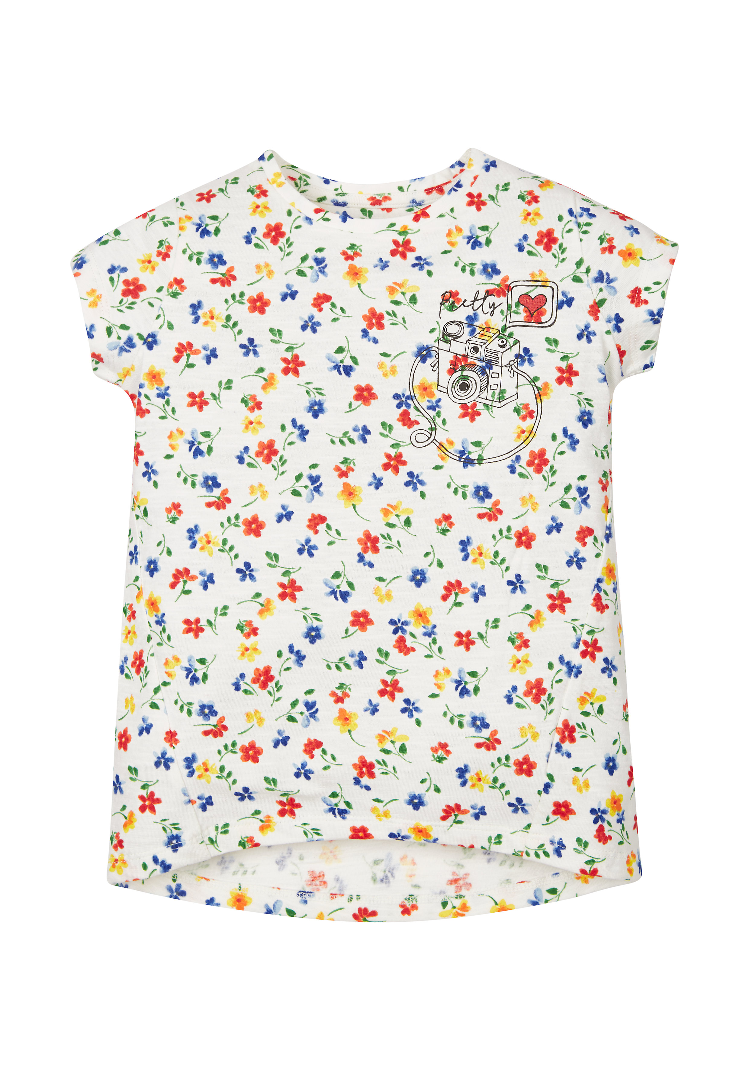 Mothercare   Girls Floral Camera T-Shirt