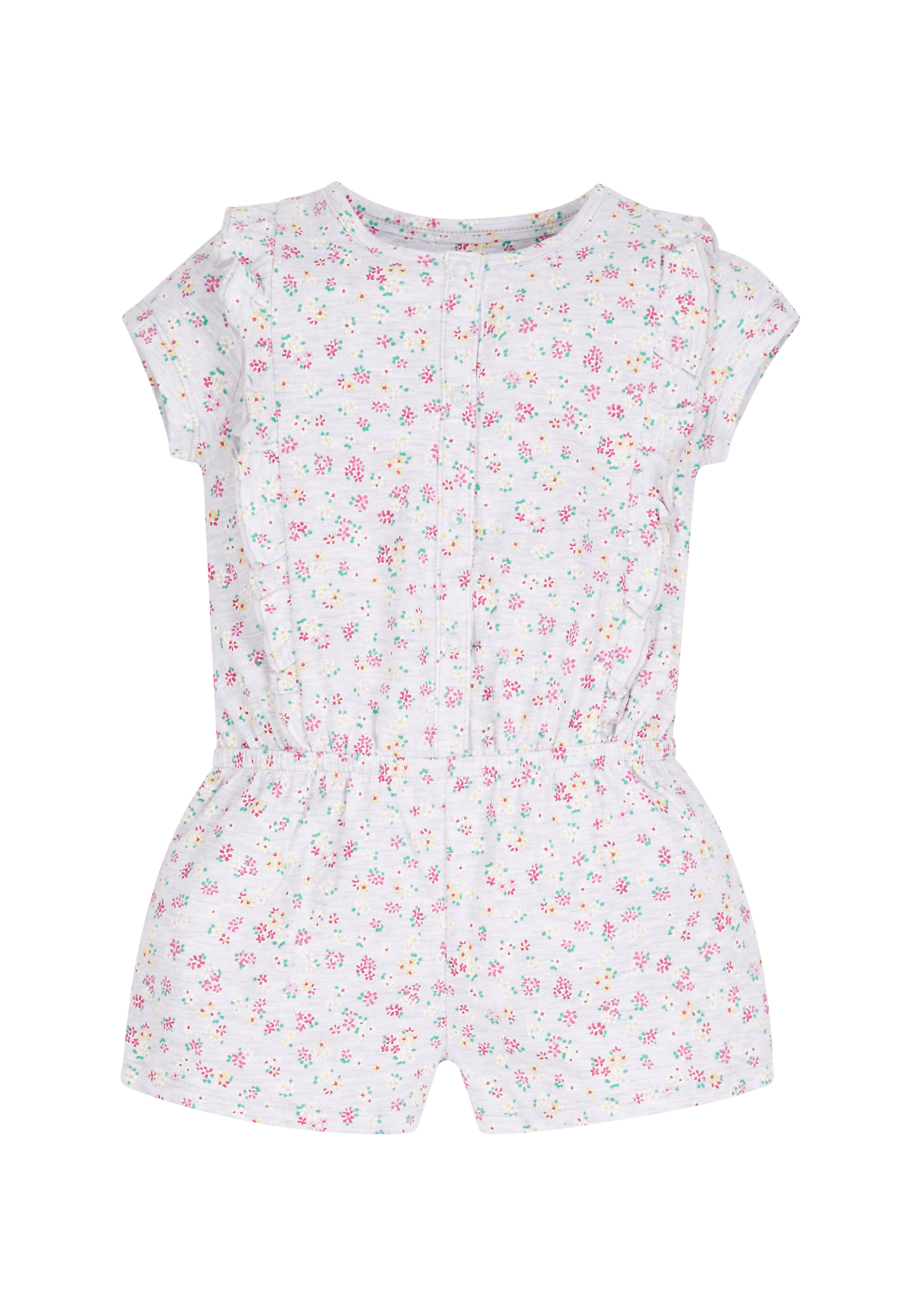 Mothercare   Girls Floral Playsuit - Grey