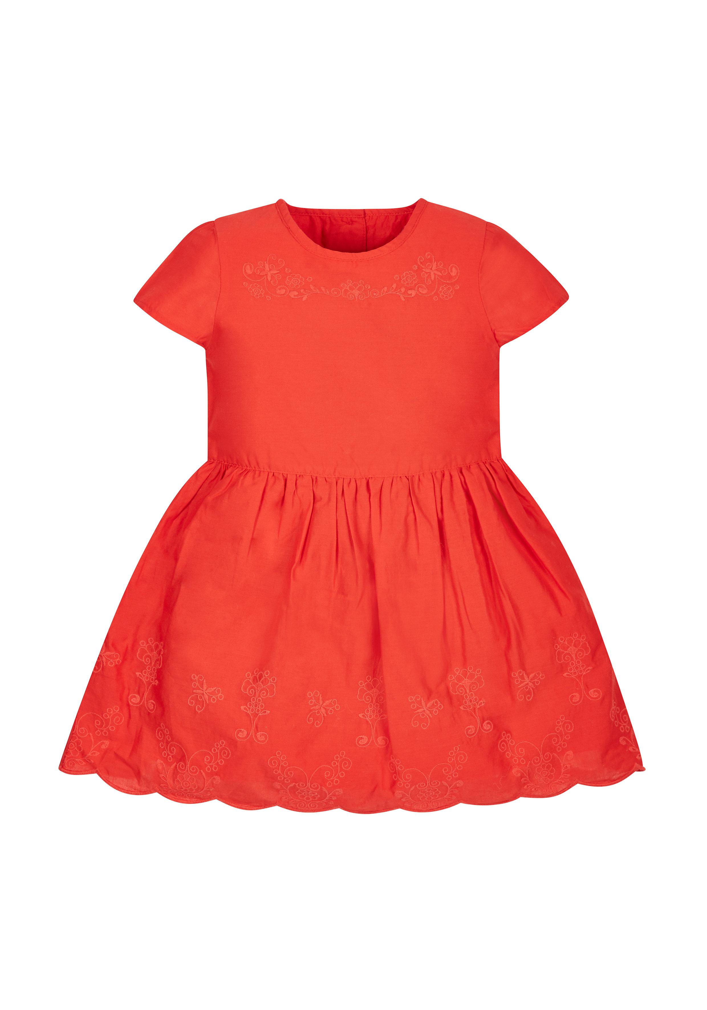 Mothercare | Girls Flower Embellished Dress - Red