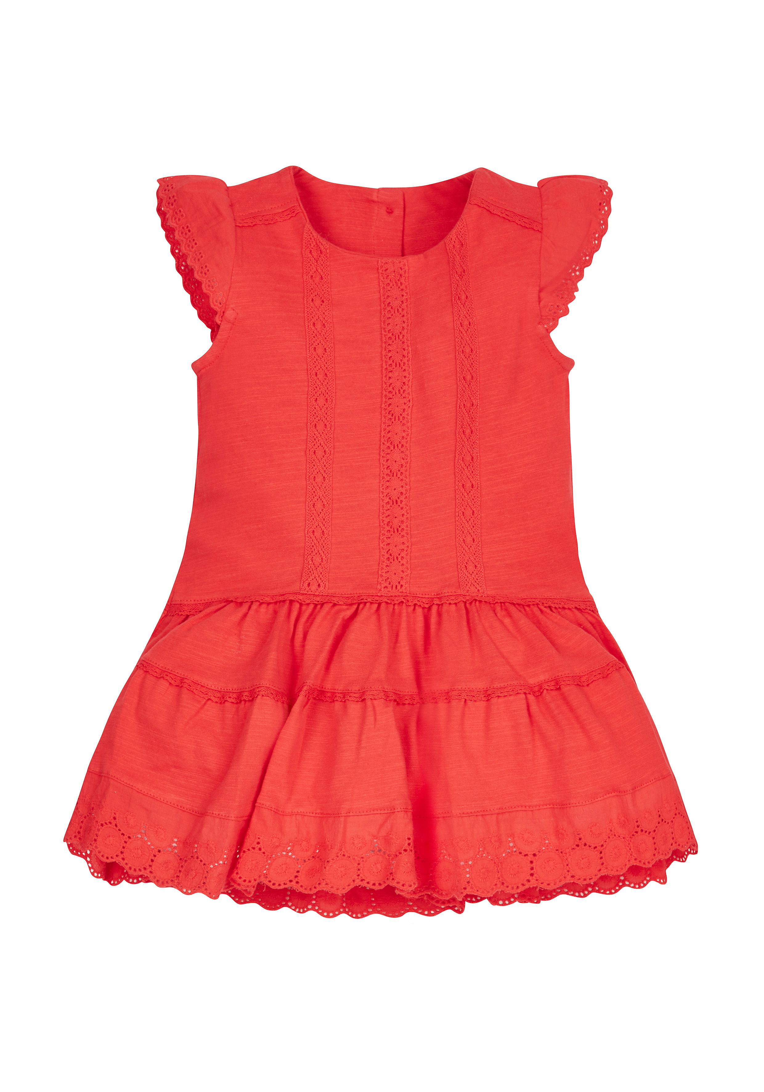 Mothercare | Girls  Broderie Lace Dress - Red