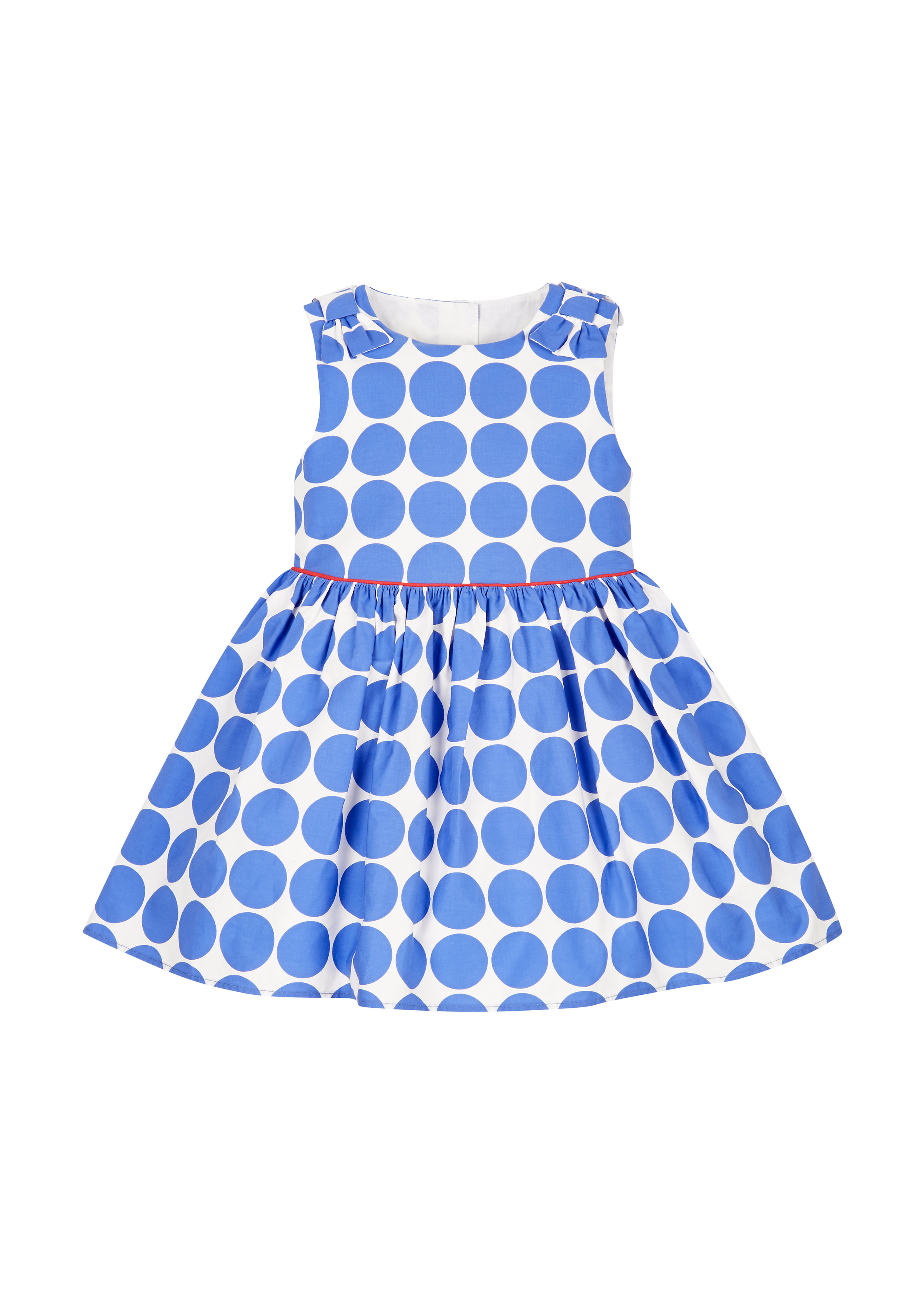 Mothercare   Girls Blue Spotty Prom Dress - Red