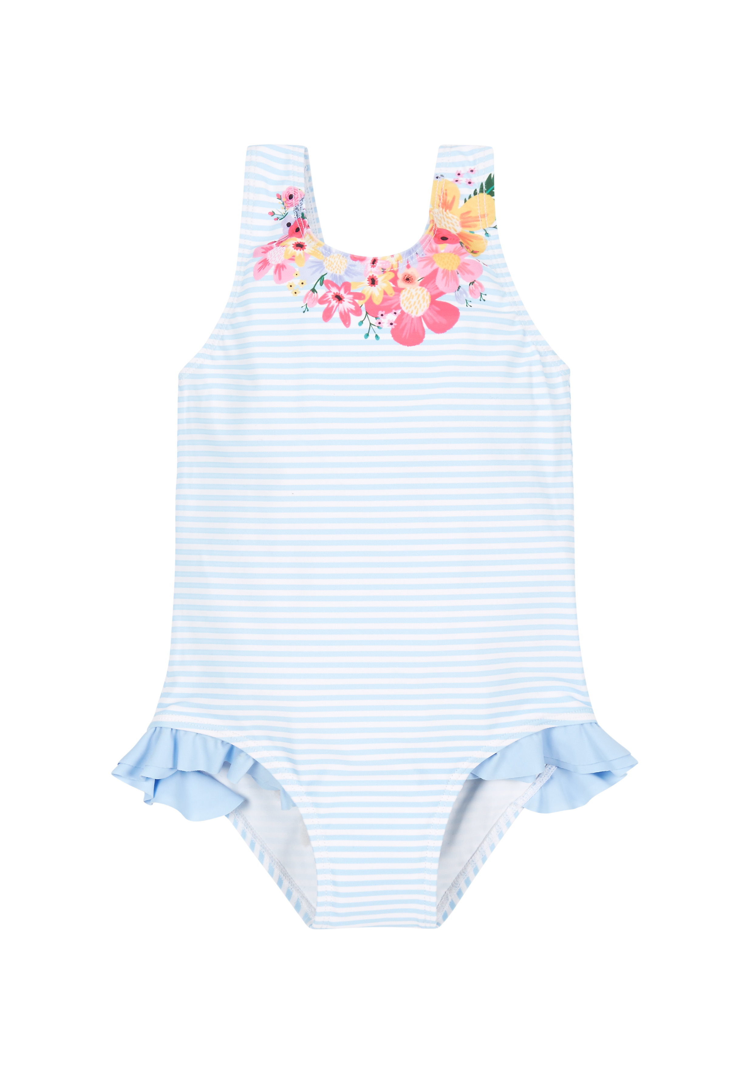 Mothercare | Girls Stripy Frill Swimsuit