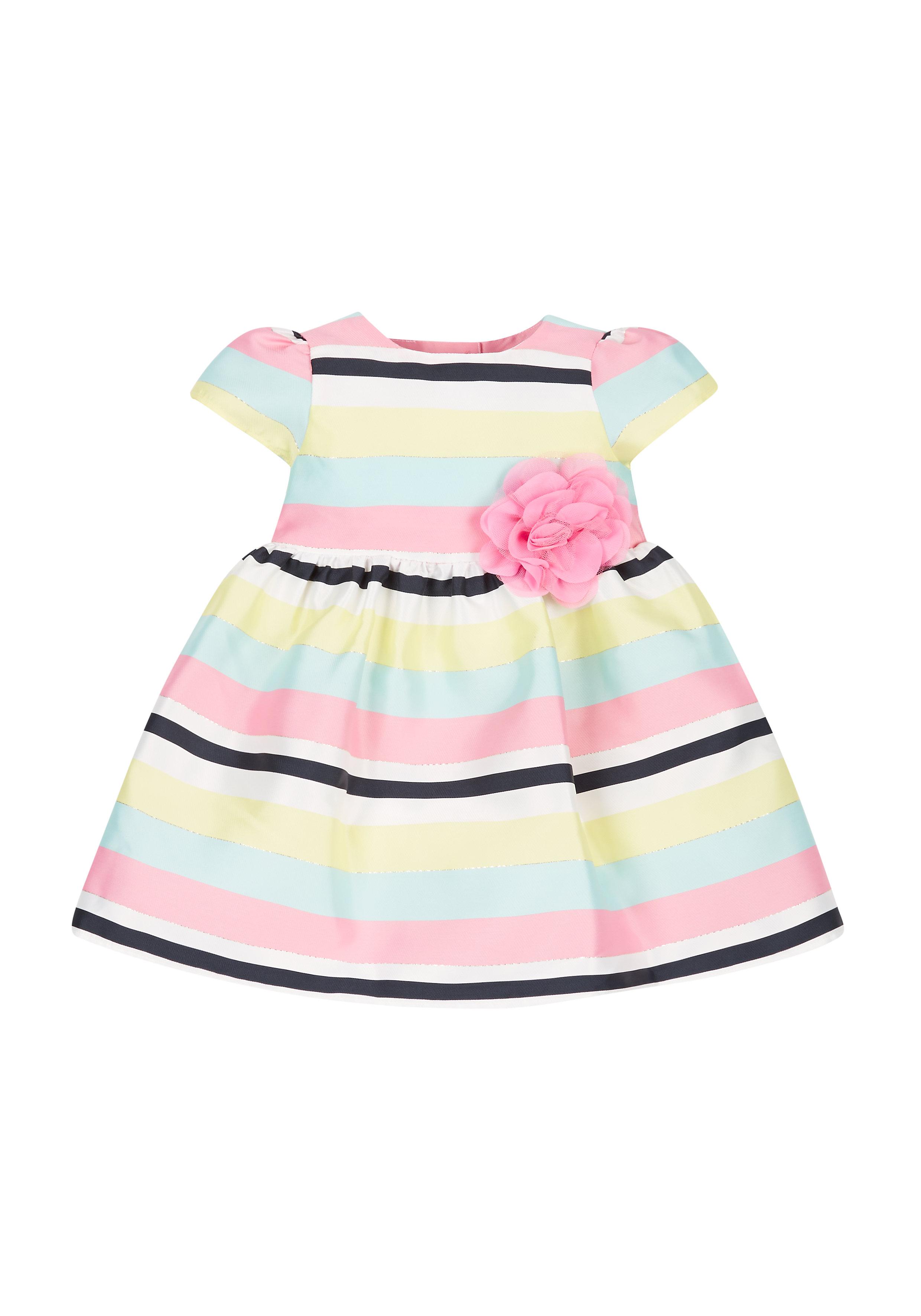 Mothercare | Girls Jacquard Stripe Prom Dress - Pink