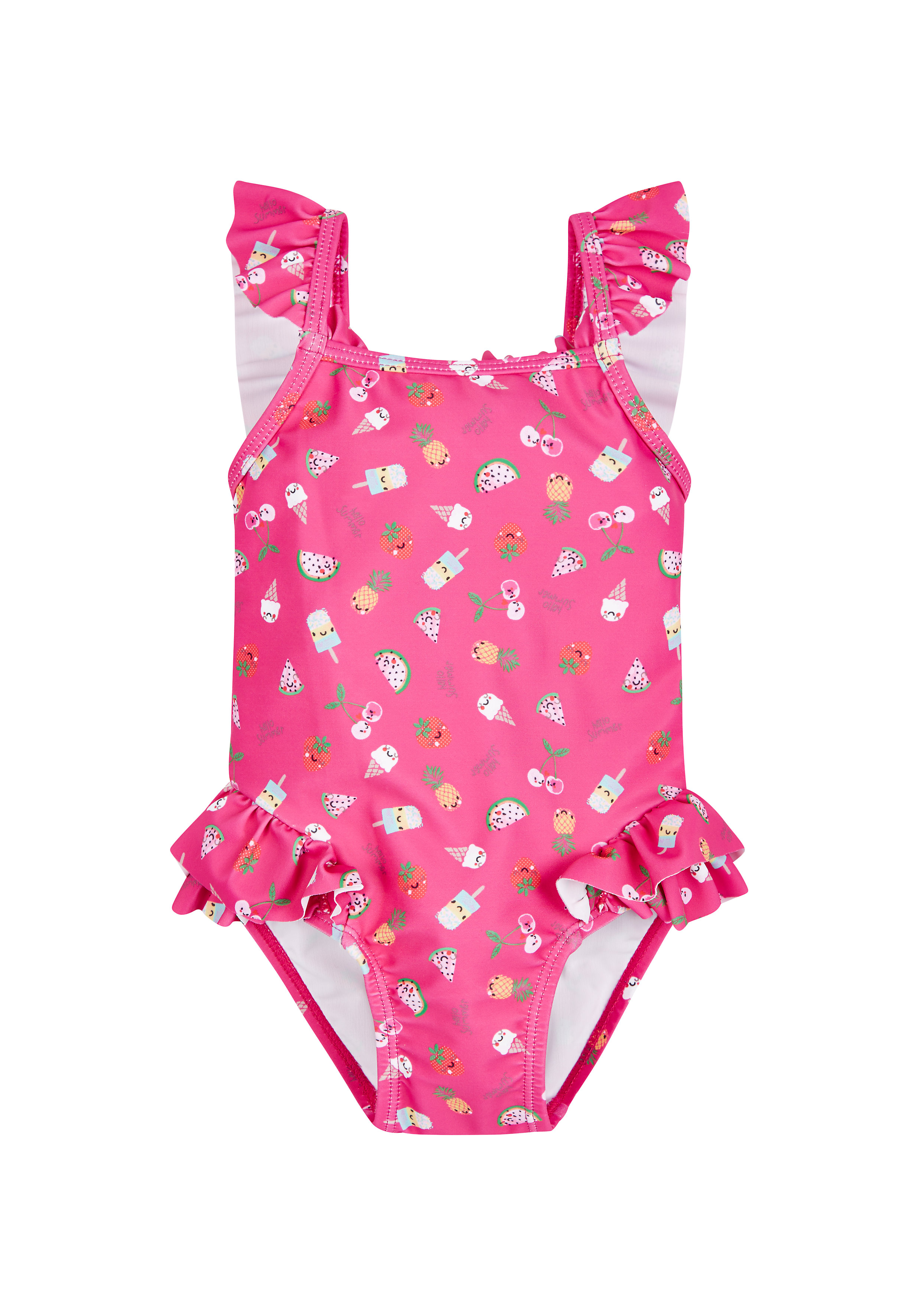 Mothercare | Girls Tropical Fruit Frilled Swimsuit - Pink